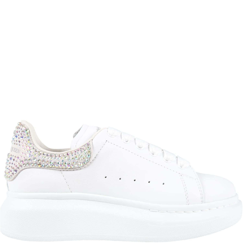 Alexander McQueen White Sneakers For Girl With Swarovski