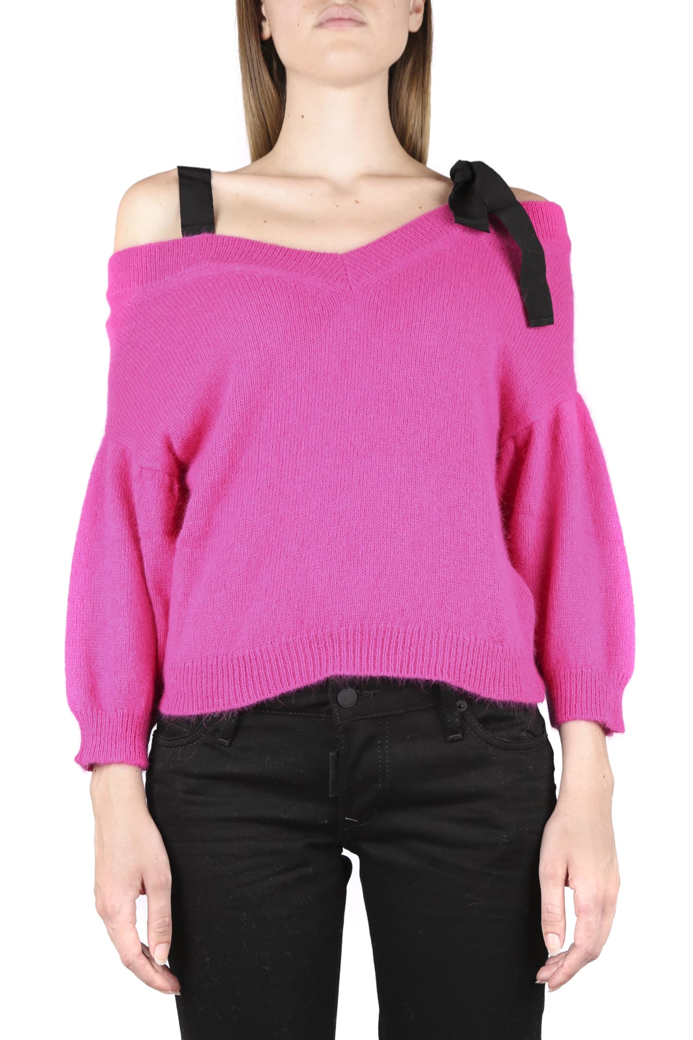 RED Valentino Angora Sweater With Contrasting Ribbons