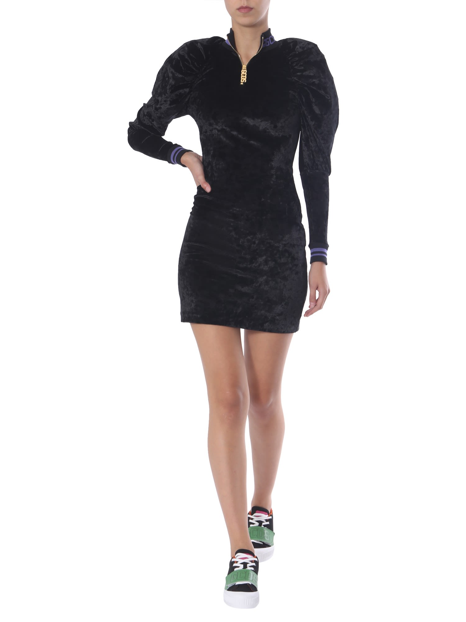 Buy GCDS Velvet Dress With Logo online, shop GCDS with free shipping