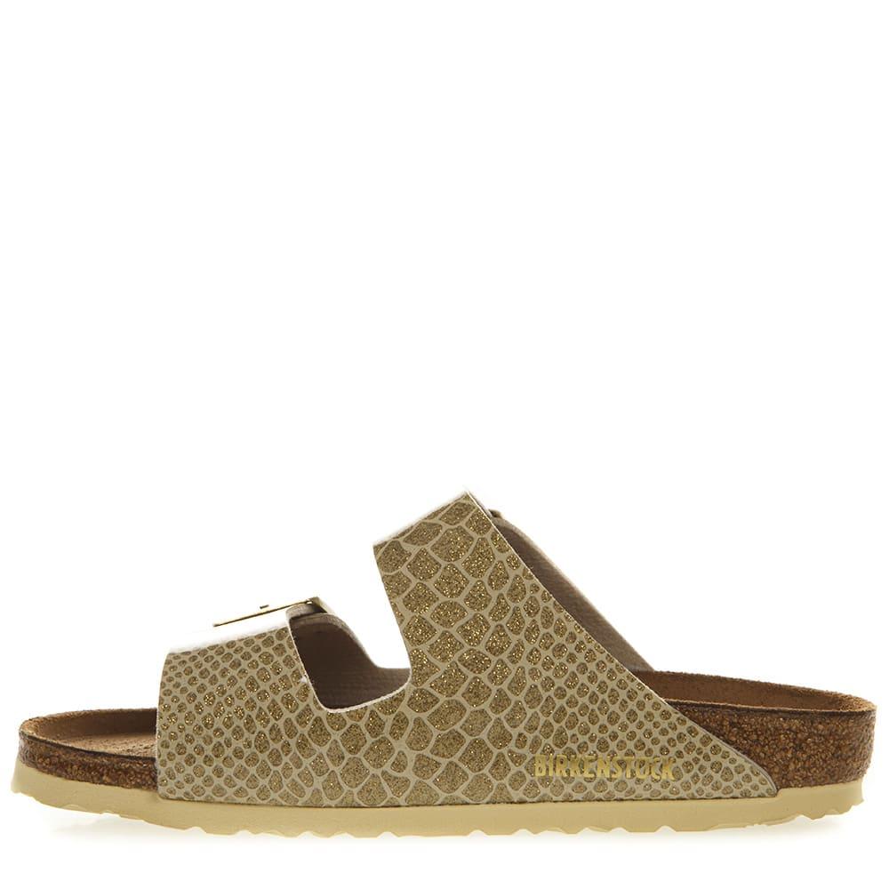 Best price on the market at italist   Birkenstock Birkenstock Arizona Gold Sandals In Birko Flor Fabric
