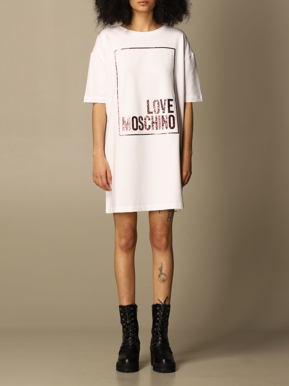 Love Moschino Dress Love Moschino T-shirt Dress In Cotton With Glitter Logo