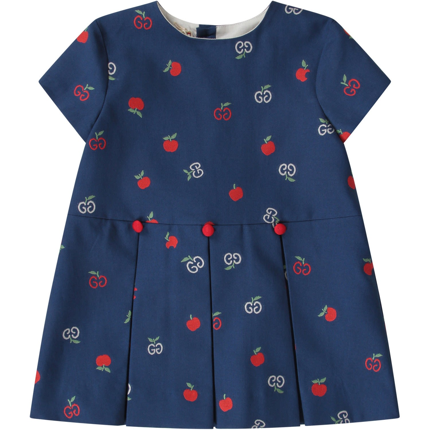 Buy Gucci Blue Babygirl Dress With Double Gg And Apples online, shop Gucci with free shipping