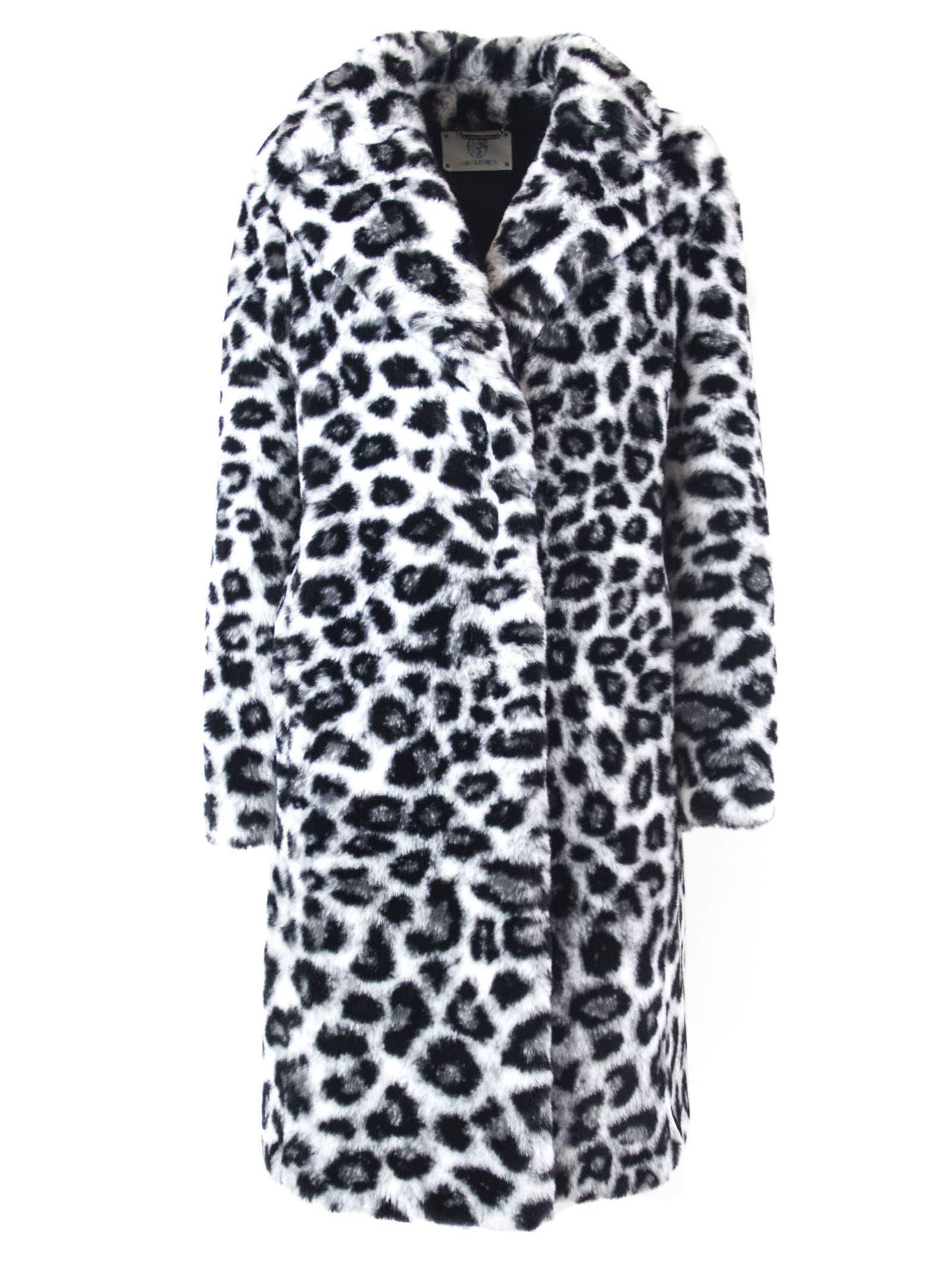 Alberta Ferretti White And Black Faux Fur Long Coat