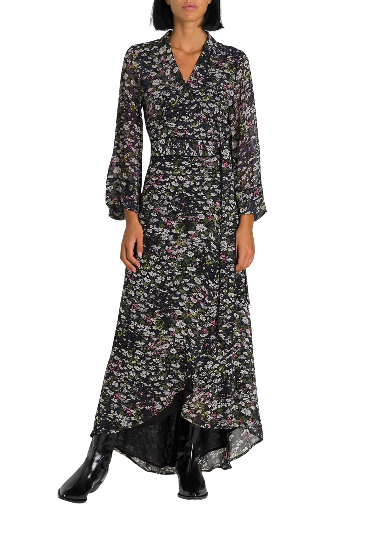 Ganni Maxi Floral Print Wrap Dress