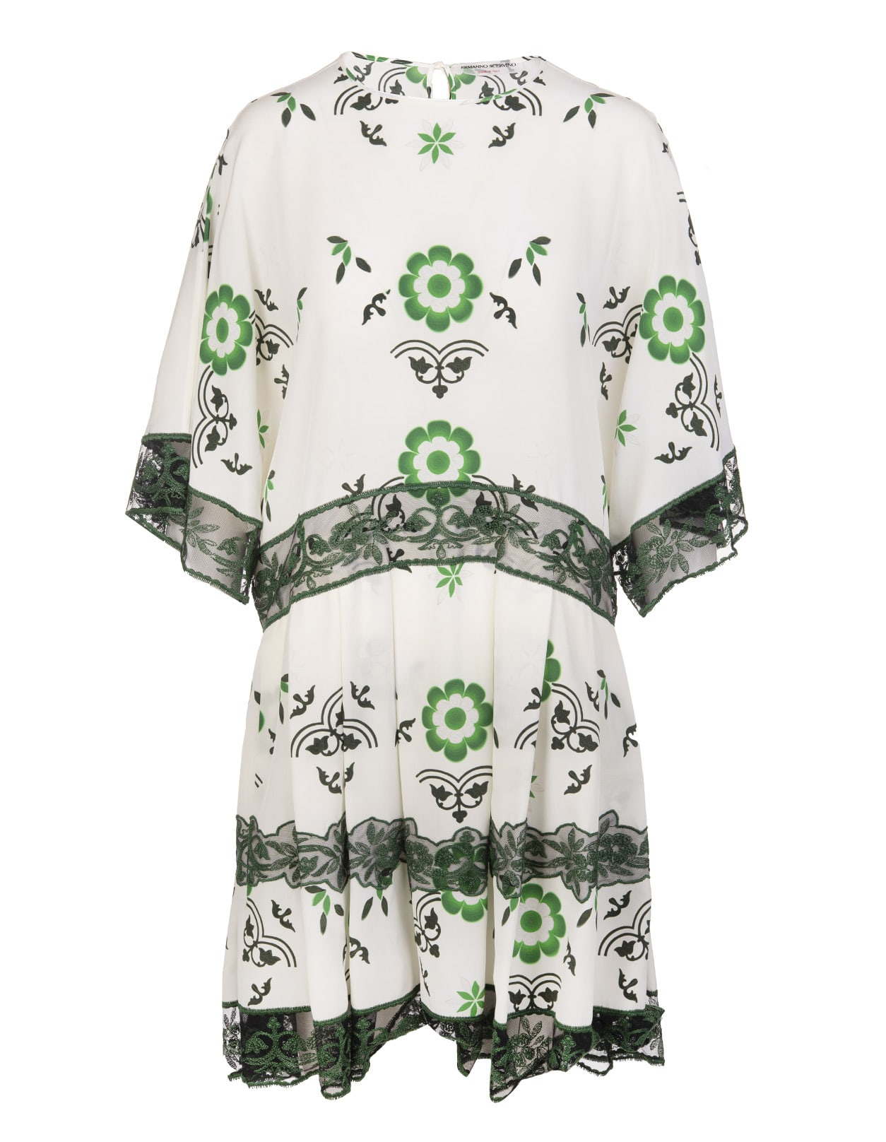 Ermanno Scervino White And Green Dress With Lace Inserts