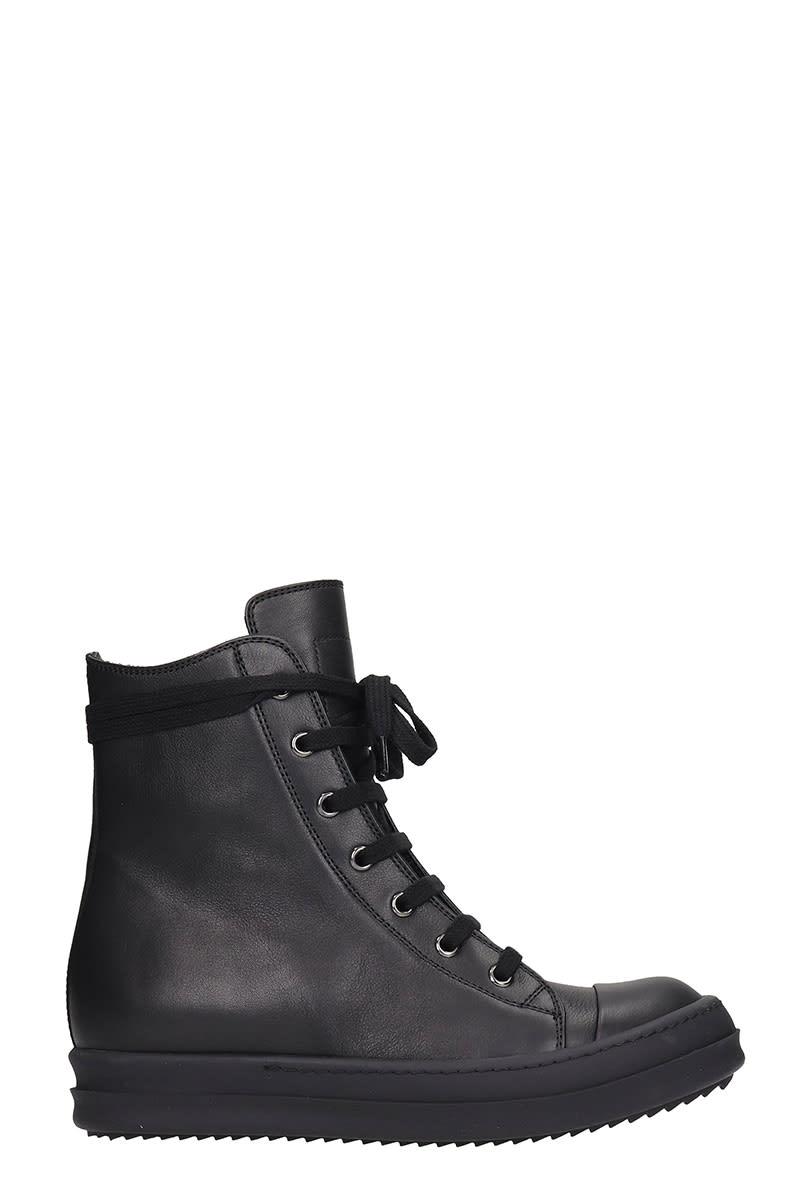Rick Owens Sneaker High Sneakers In Black Leather