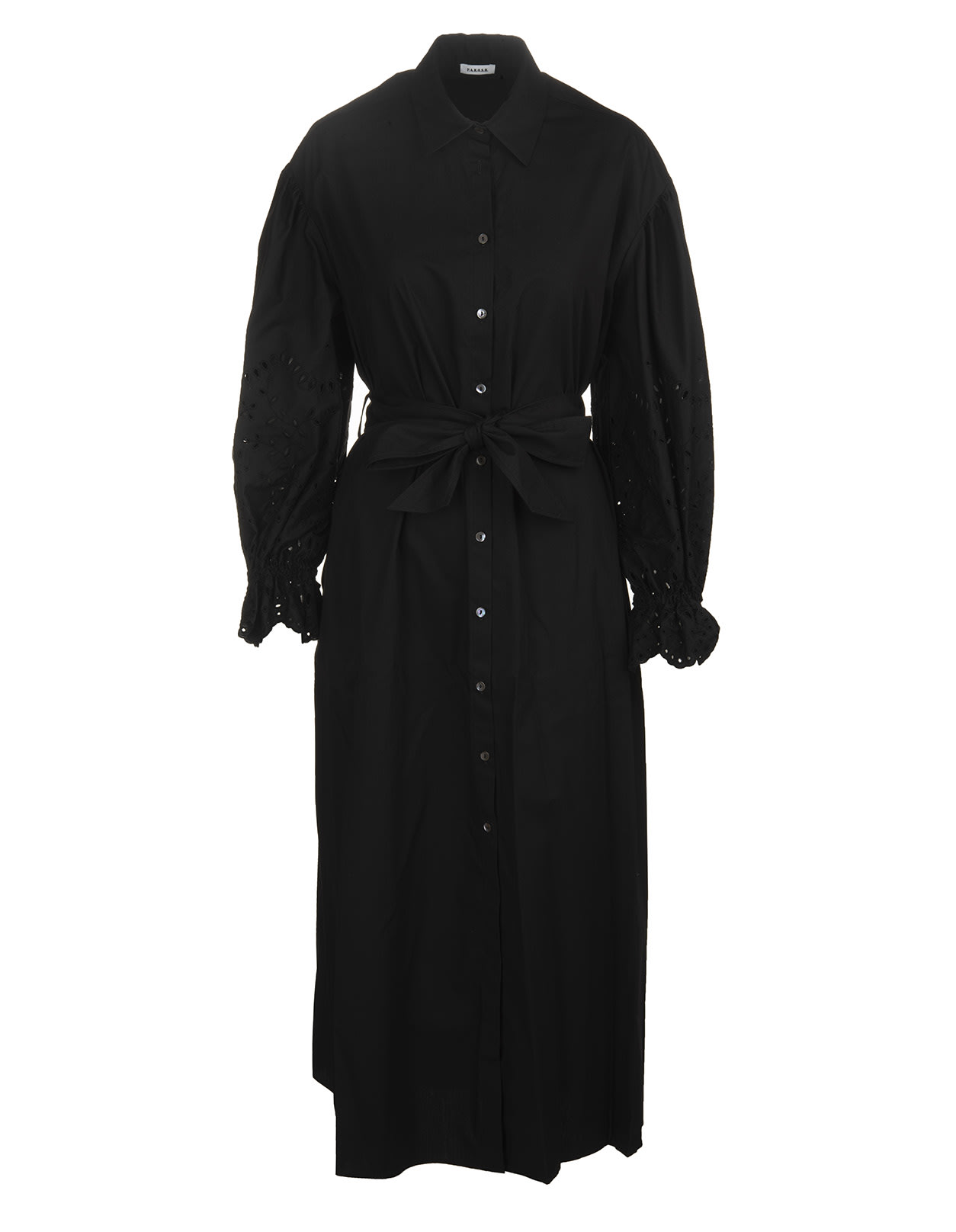 Buy Black Button-up Long-sleeved Midi Dress online, shop Parosh with free shipping