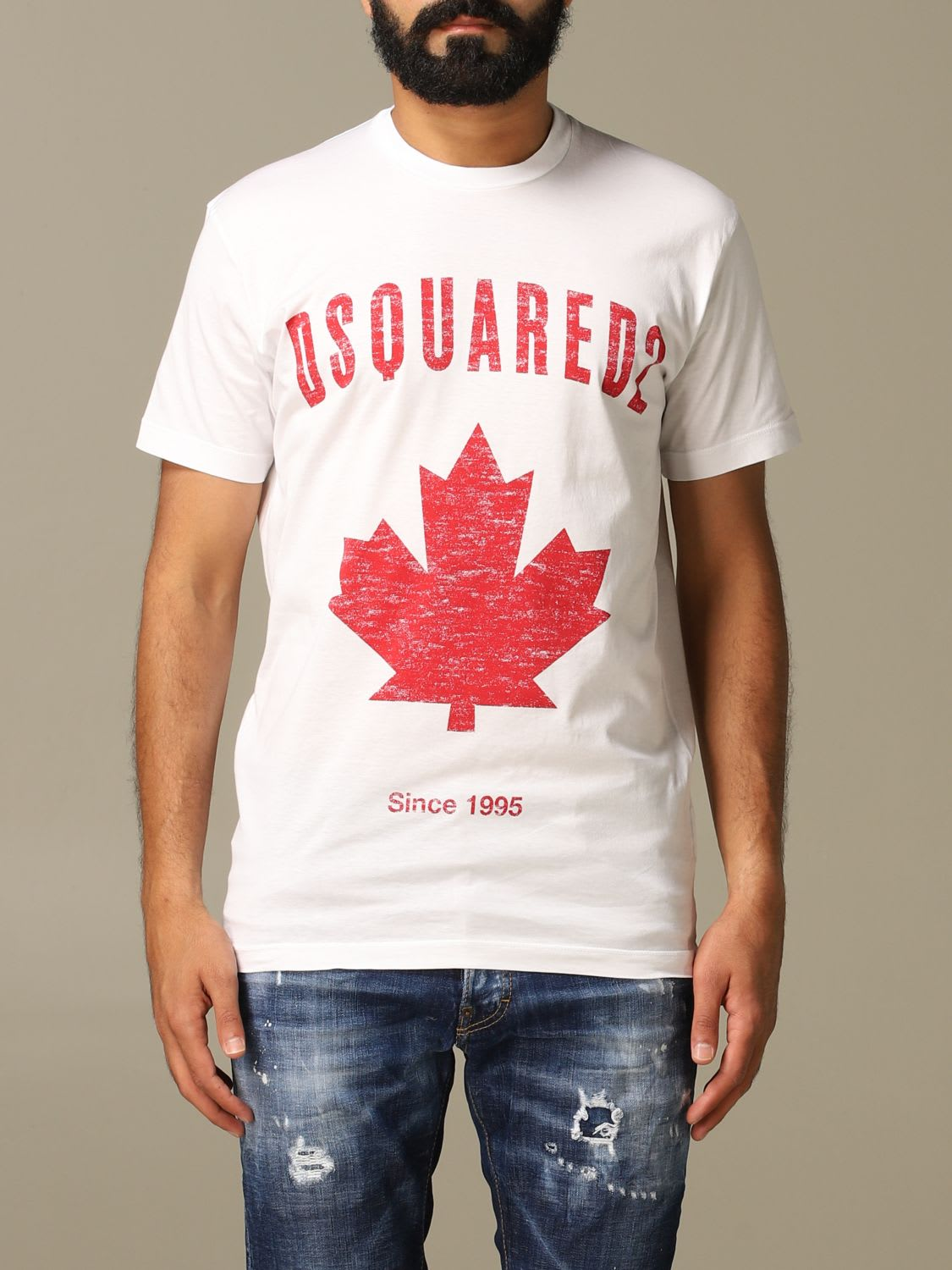 Dsquared2 T-shirt Dsquared2 Crew Neck T-shirt With Maple Leaf Print