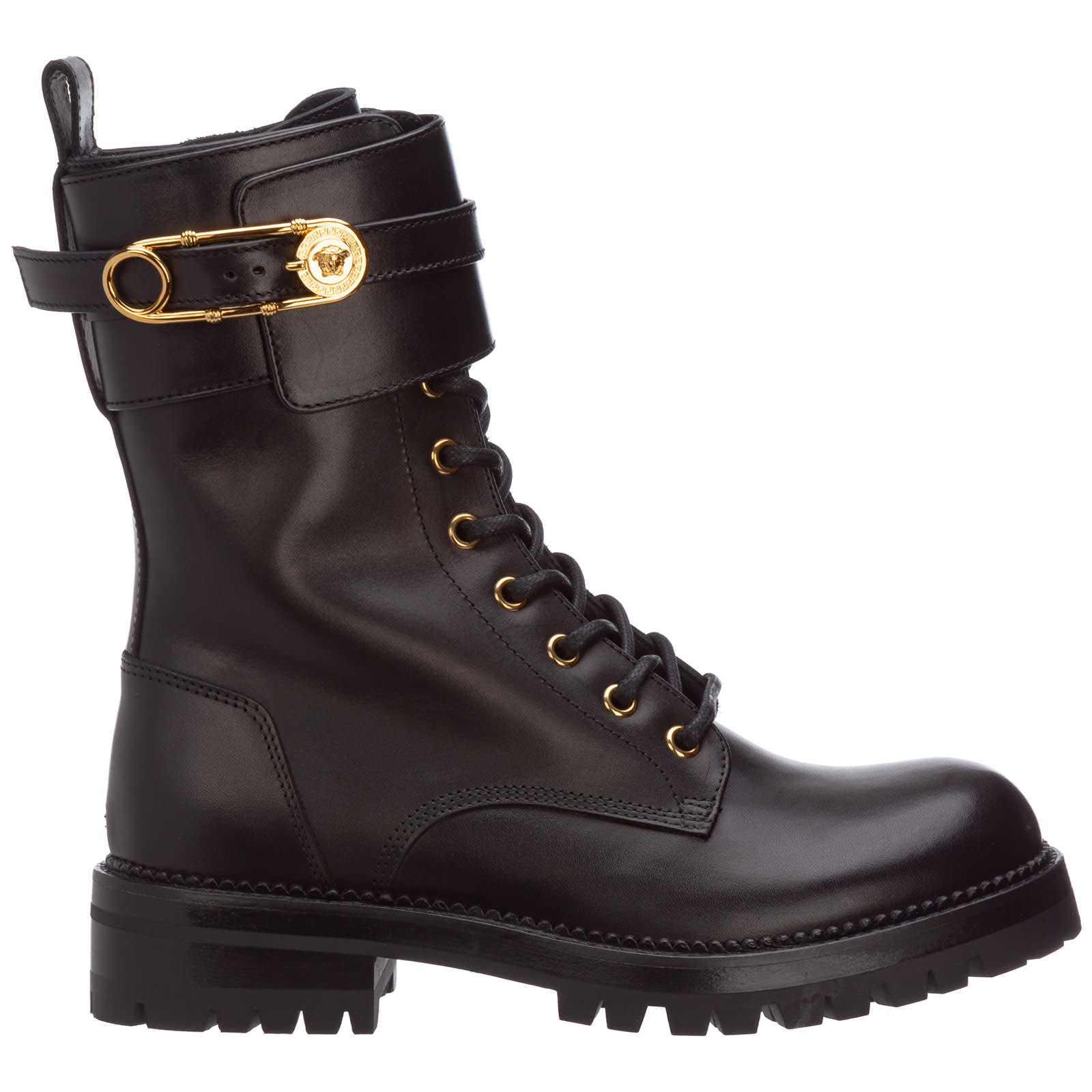 Versace SAFETY PIN COMBAT BOOTS