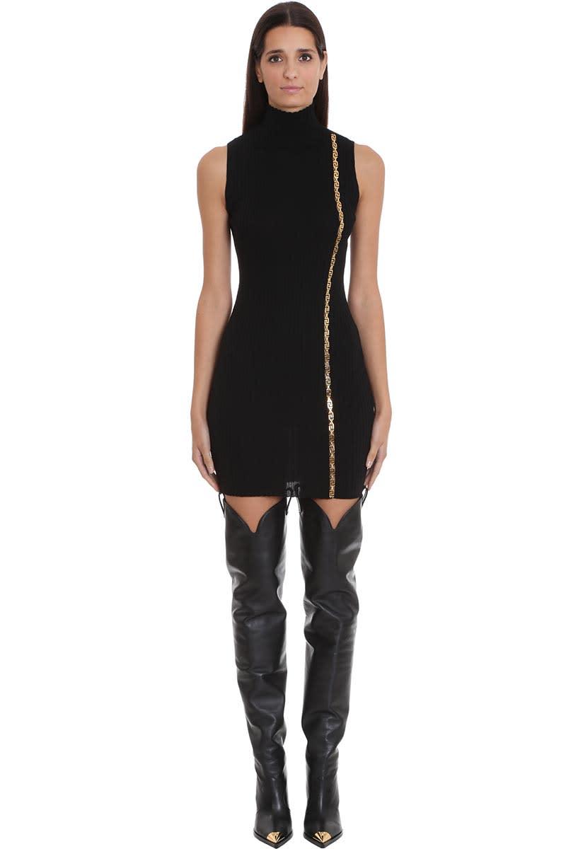 Versace Dress In Black Wool
