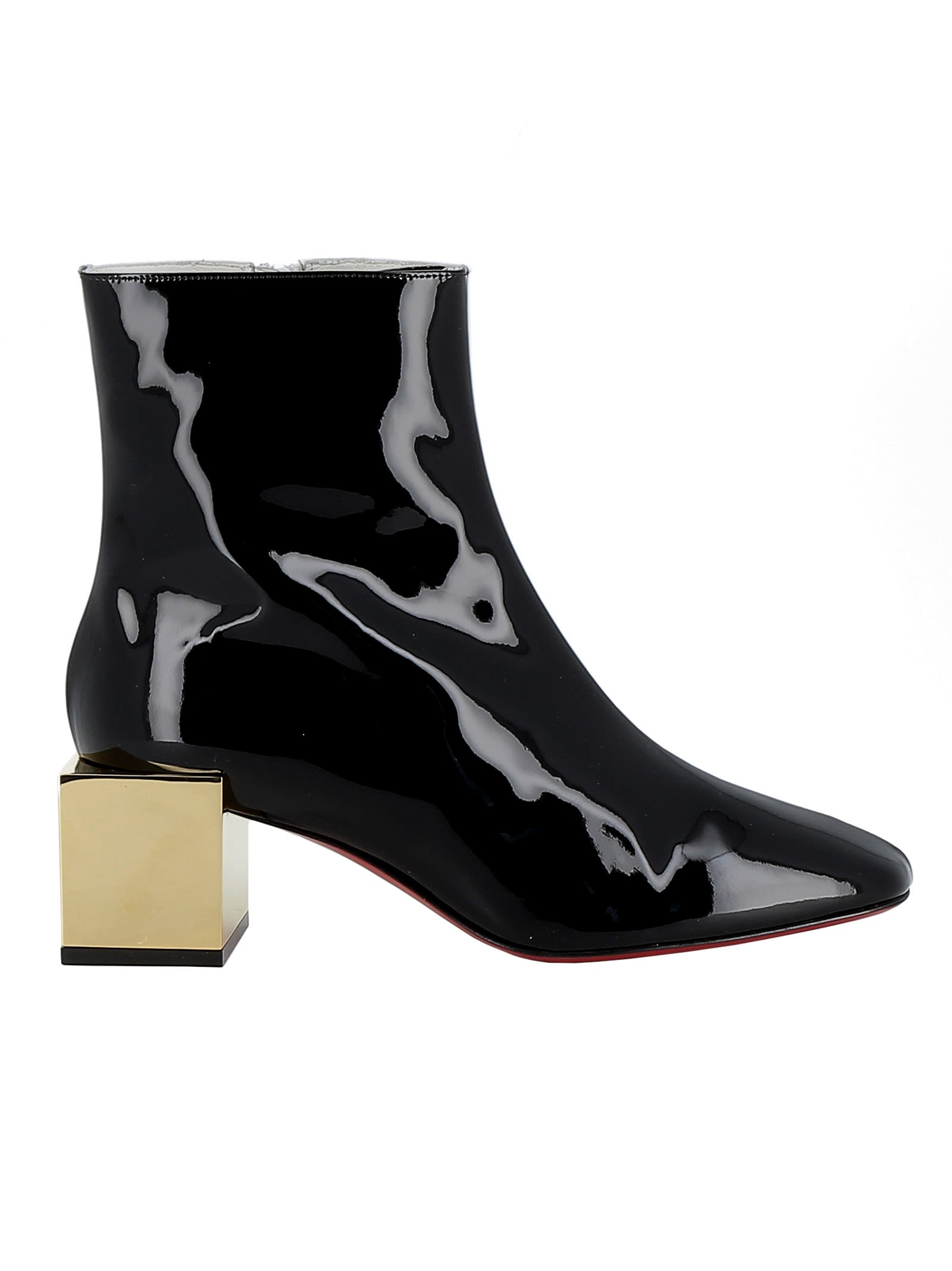 various colors ea7e5 e249a Best price on the market at italist | Christian Louboutin Christian  Louboutin White/black Patent Leather Ankle Boots