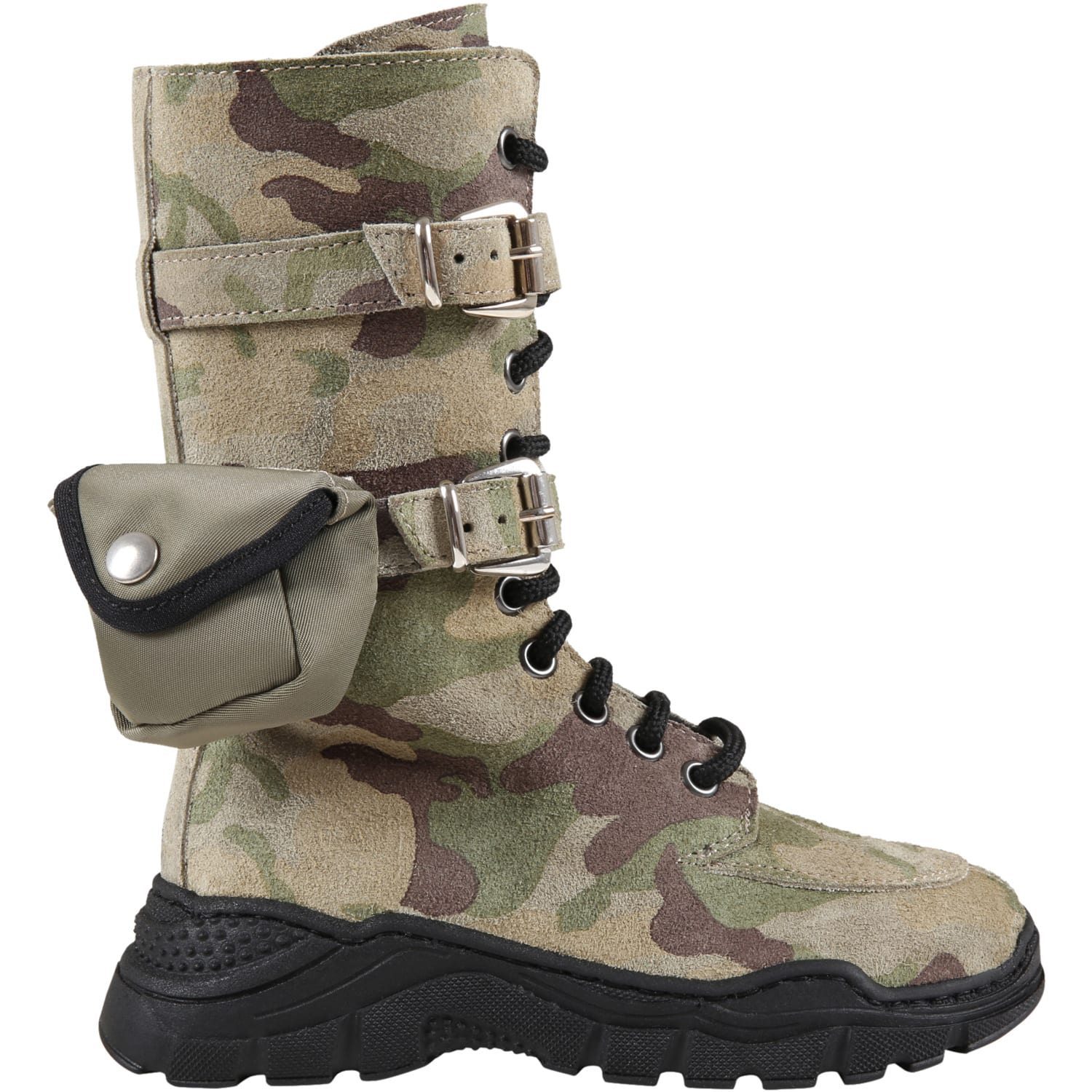 Green Boots For Kids With Pocket