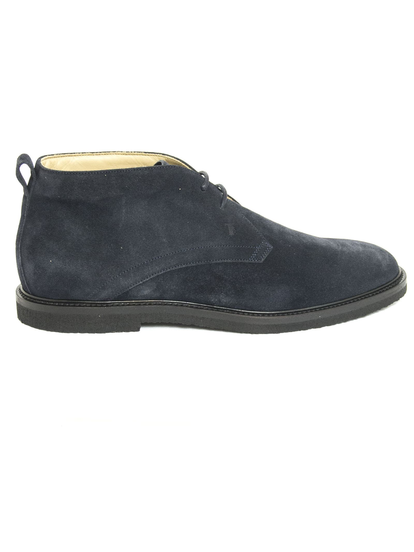 Tods Desert Boots In Blue Suede