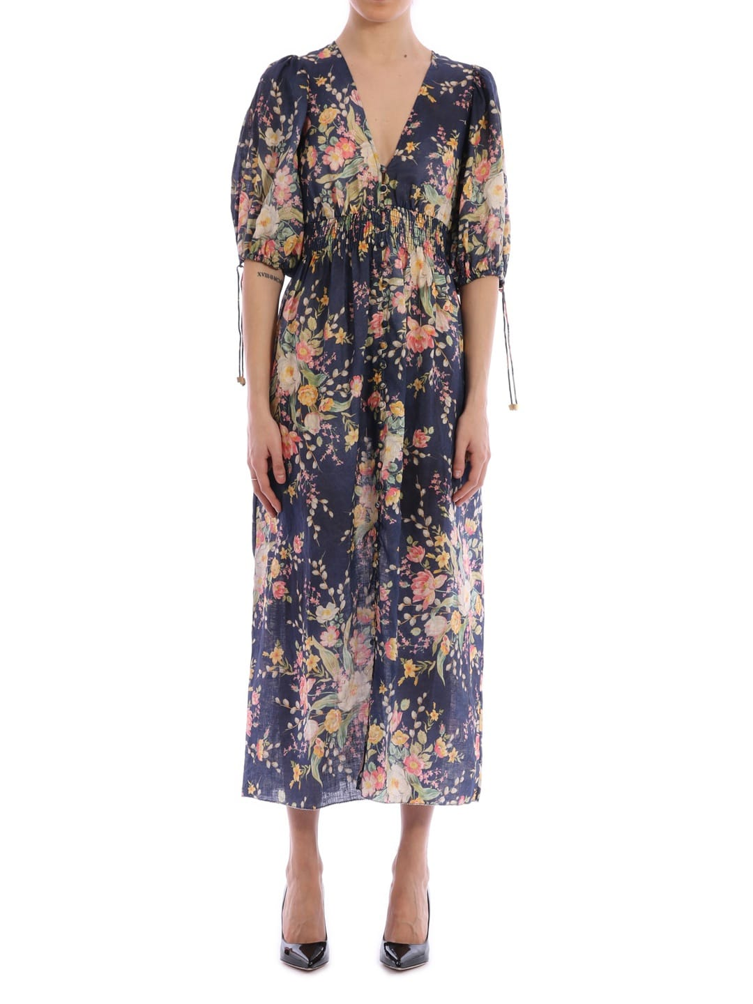 Buy Zimmermann Floral Linen Dress online, shop Zimmermann with free shipping