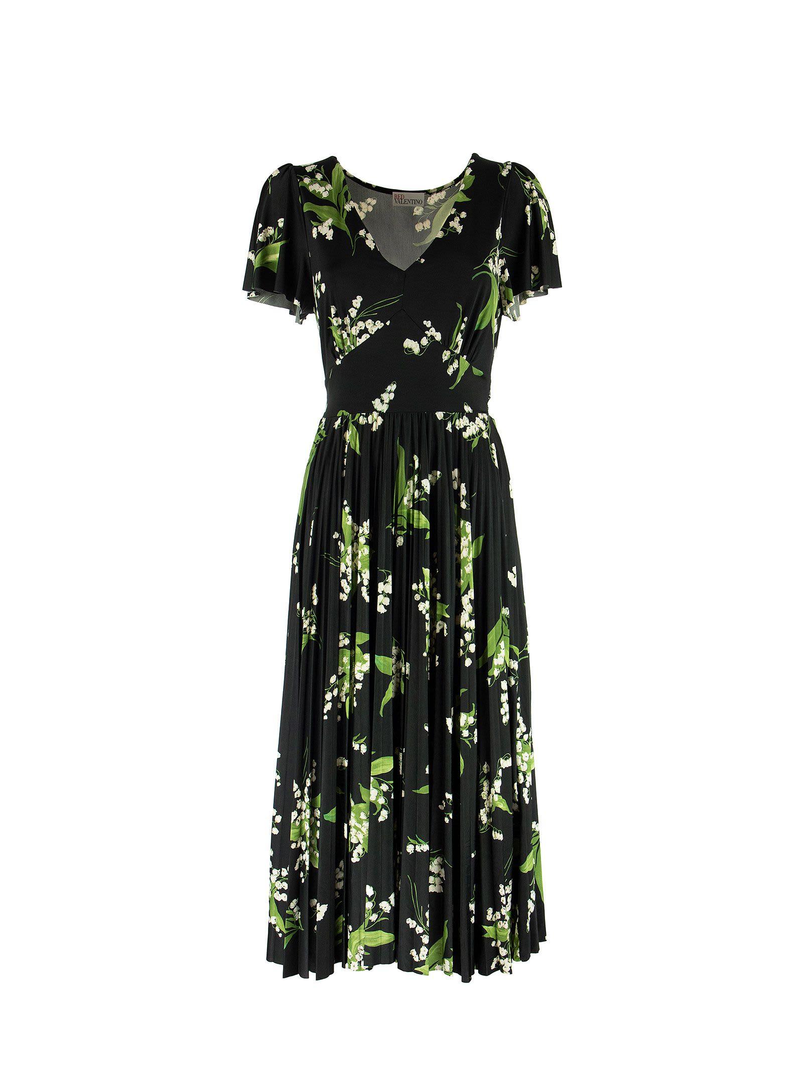 RED Valentino May Lily Print V-neck Dress