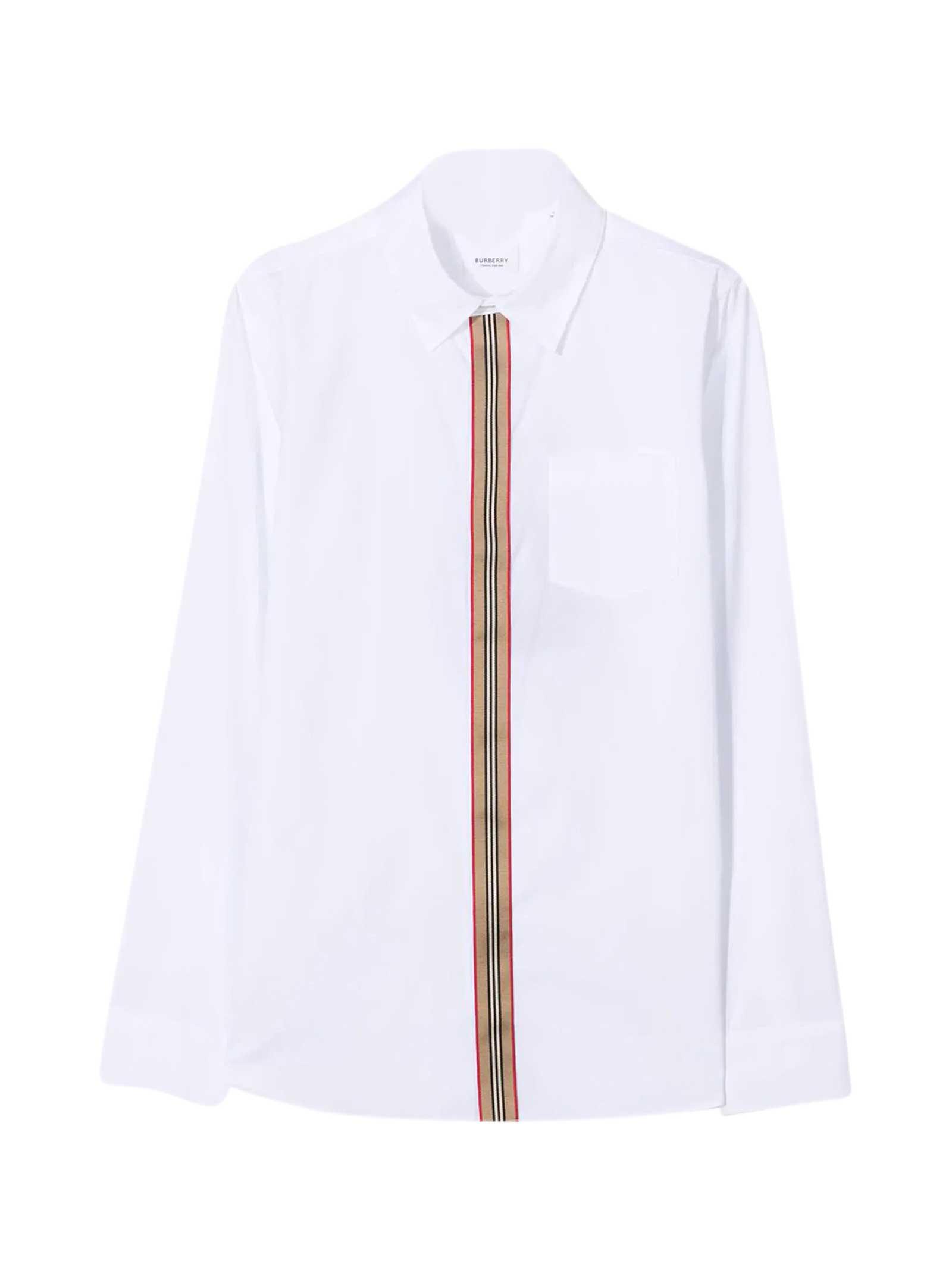 Burberry White Teen Shirt In Bianco
