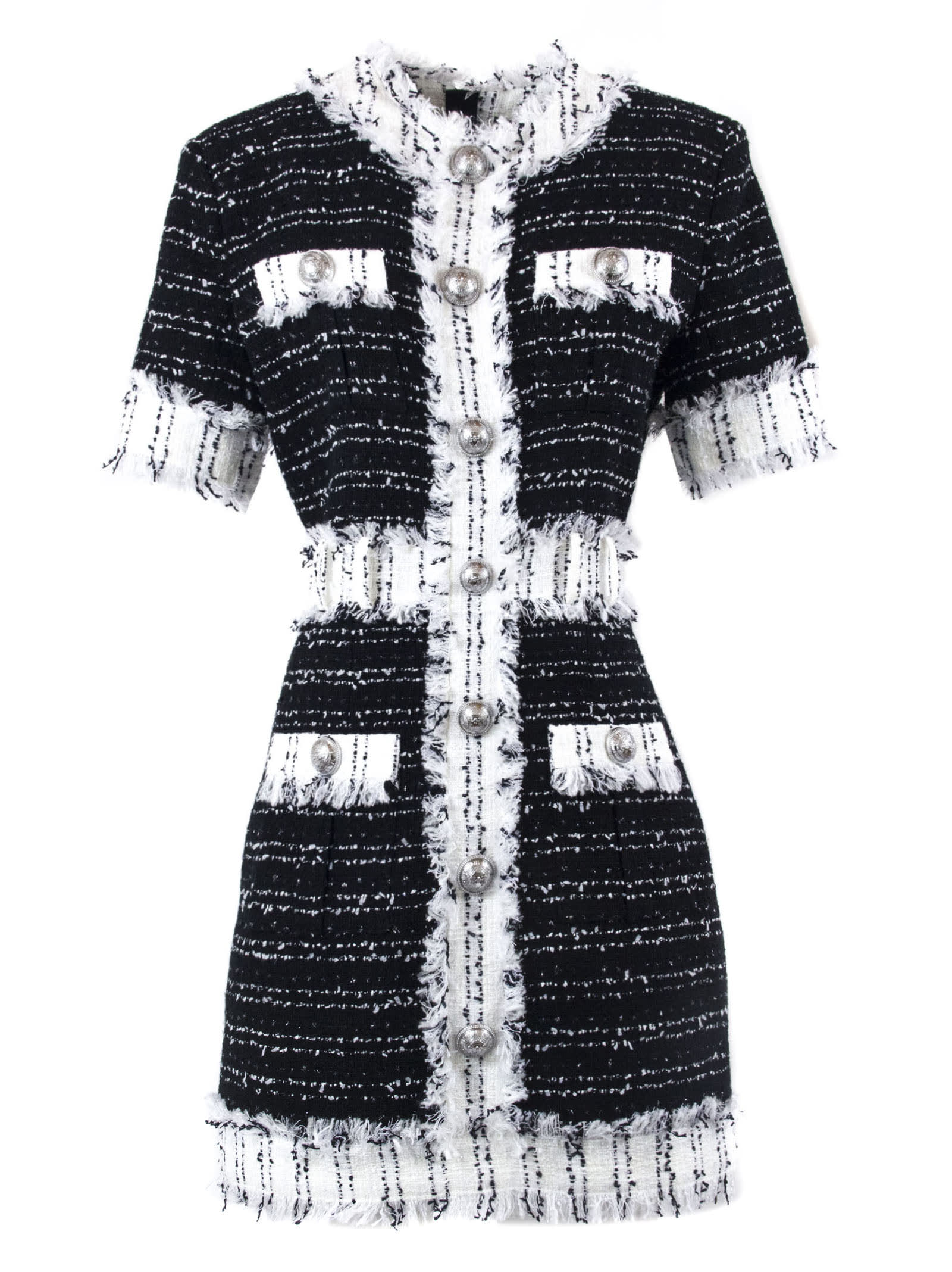 Balmain Short Black And White Tweed Dress