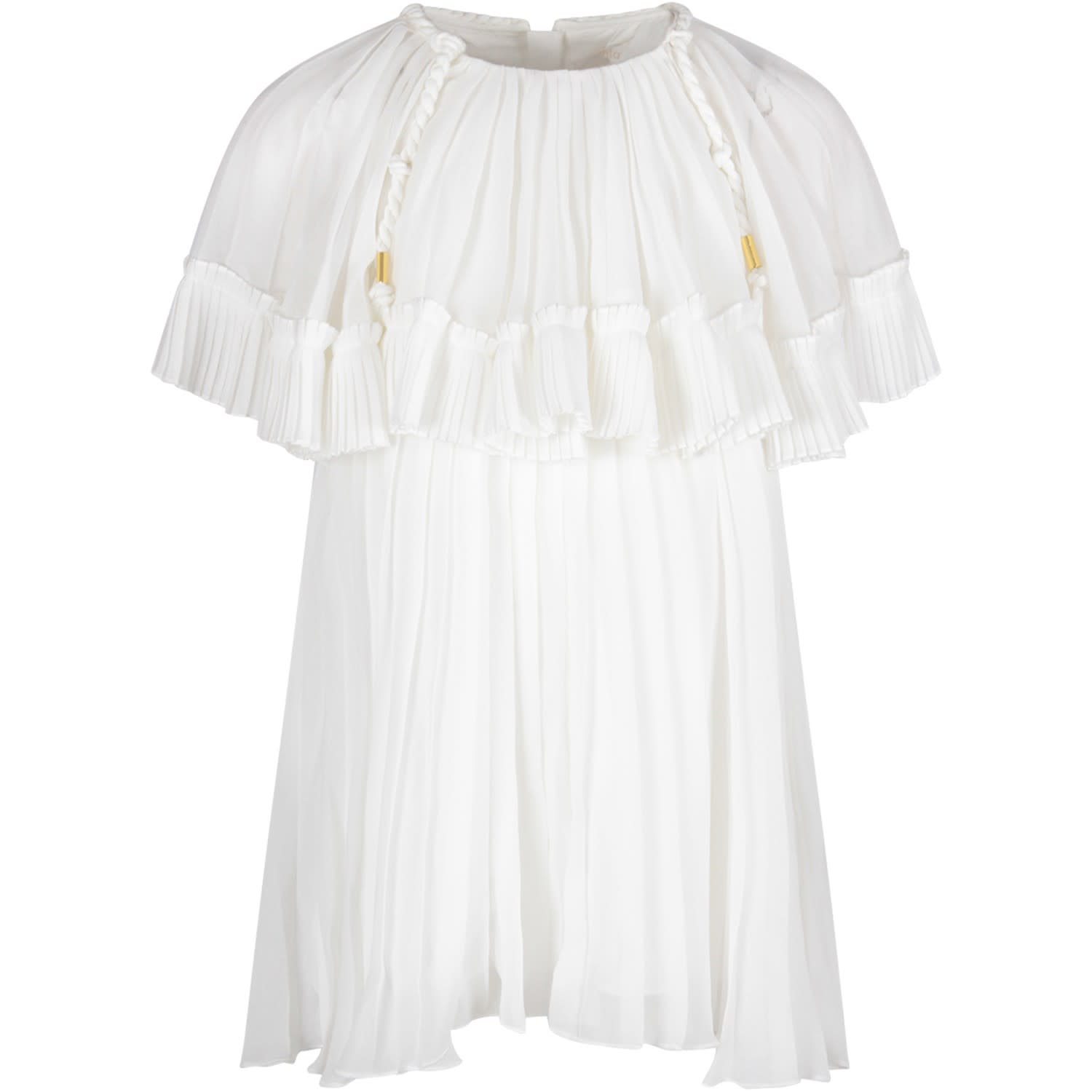 Buy Chloé White Girl Dress With Pleated online, shop Chloé with free shipping