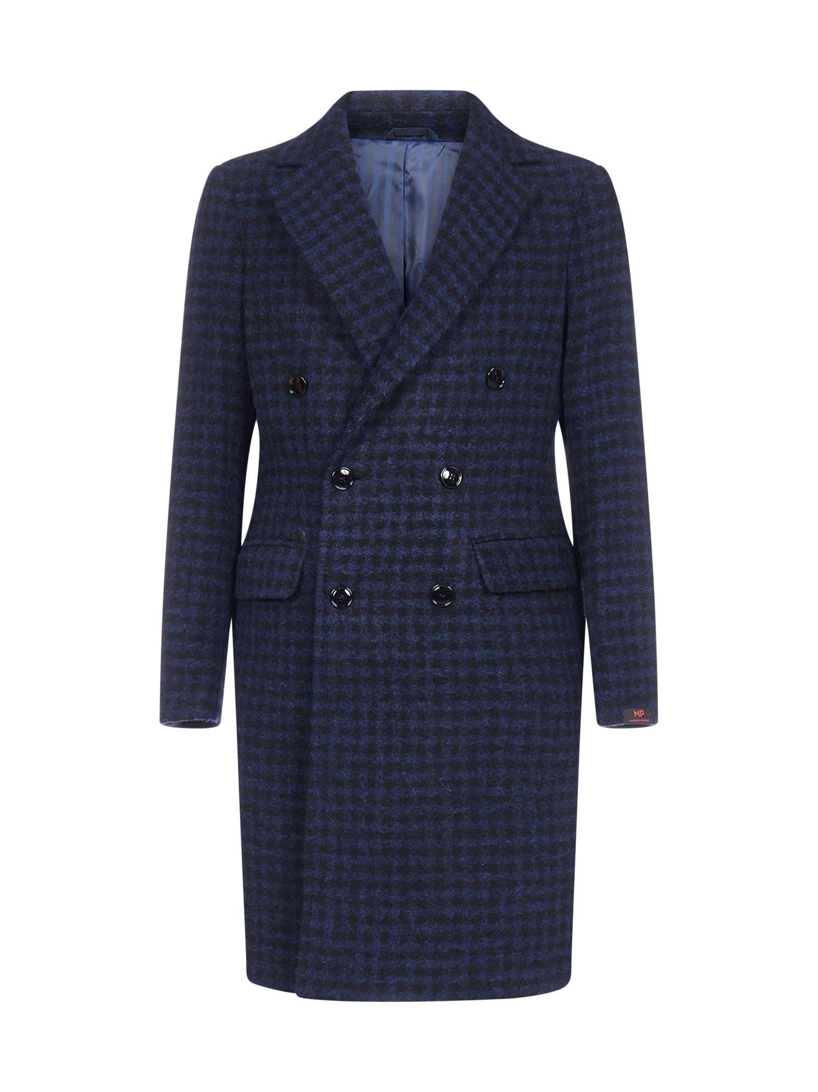 Roger Double-breasted Gingham Virgin Wool Coat