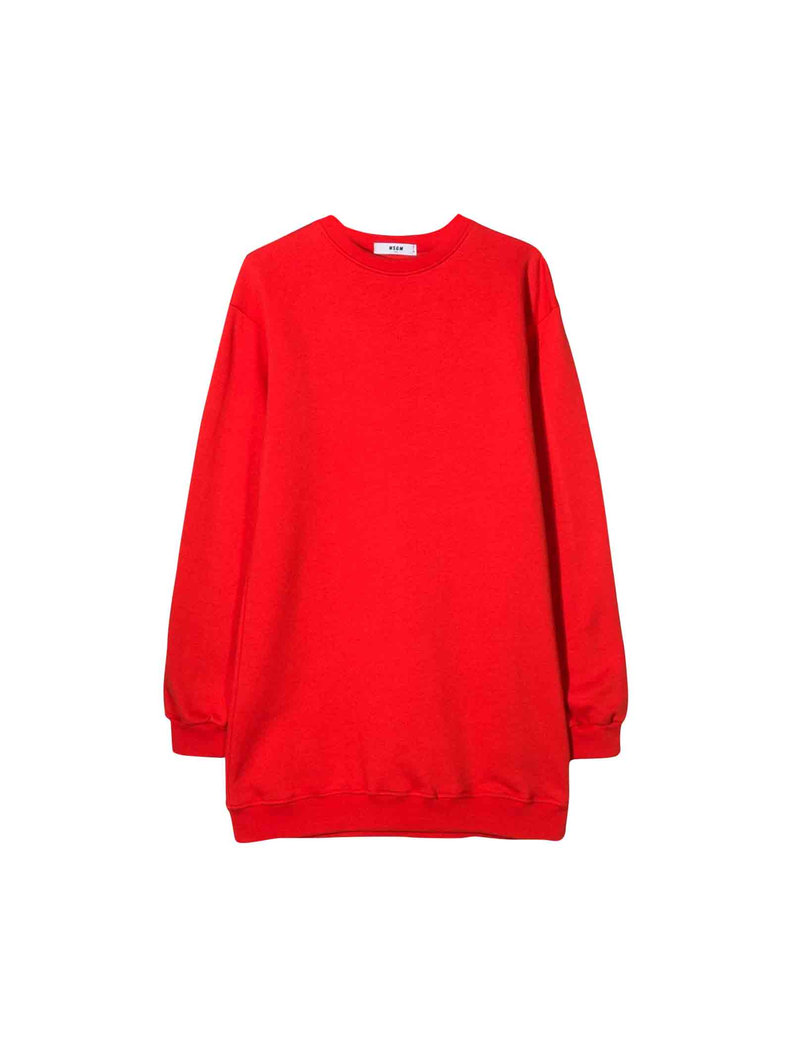 MSGM Msgm Girls Red Sweatshirt Dress