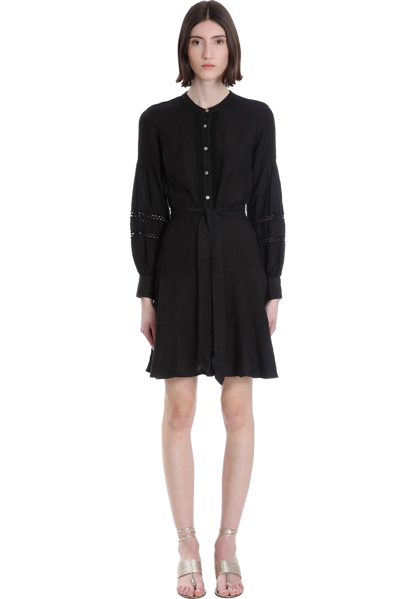 Buy 120% Lino Dress In Black Cotton online, shop 120 Lino with free shipping