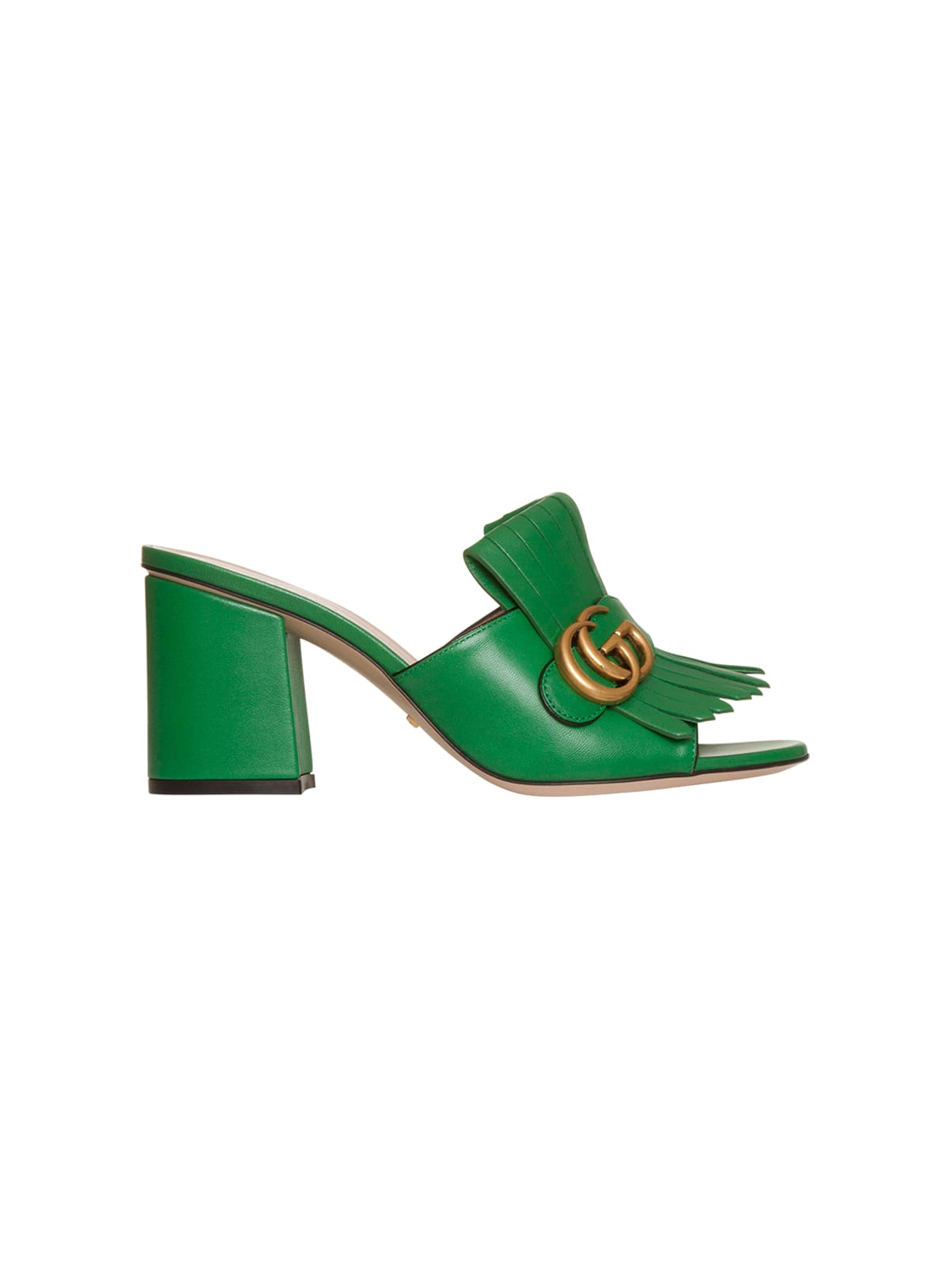 Gucci Leather Mid-Heel Slide With Double G In Verde