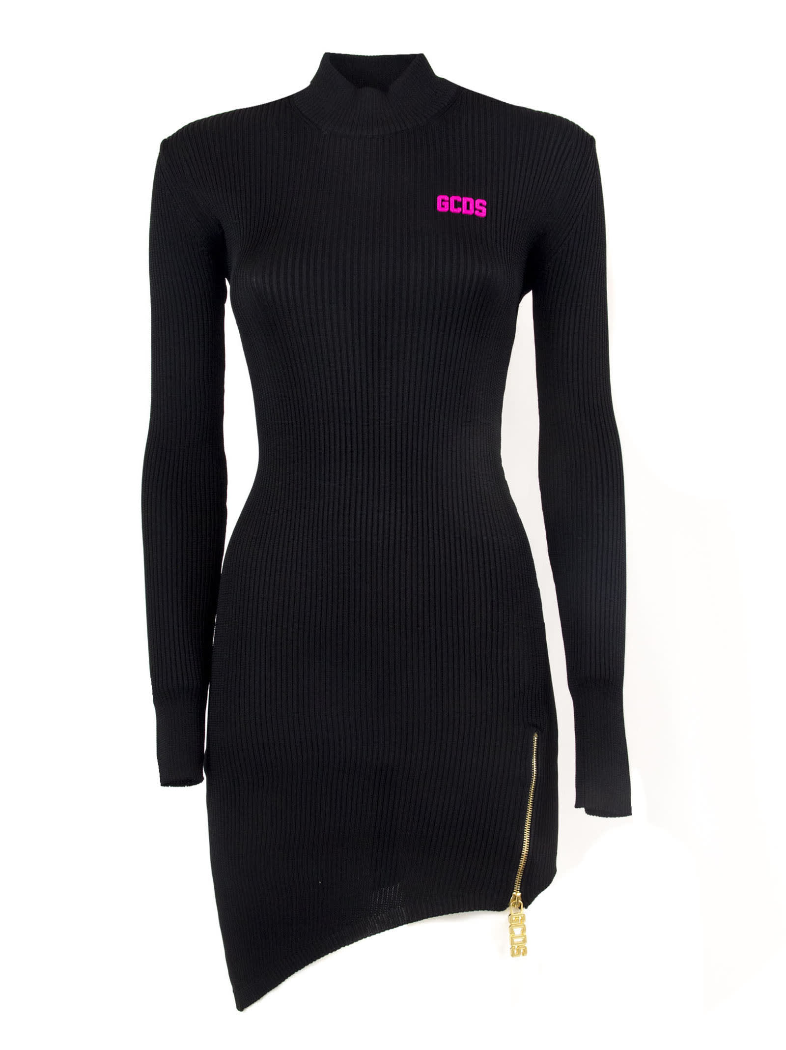 GCDS Black Ribbed Sweater Dress