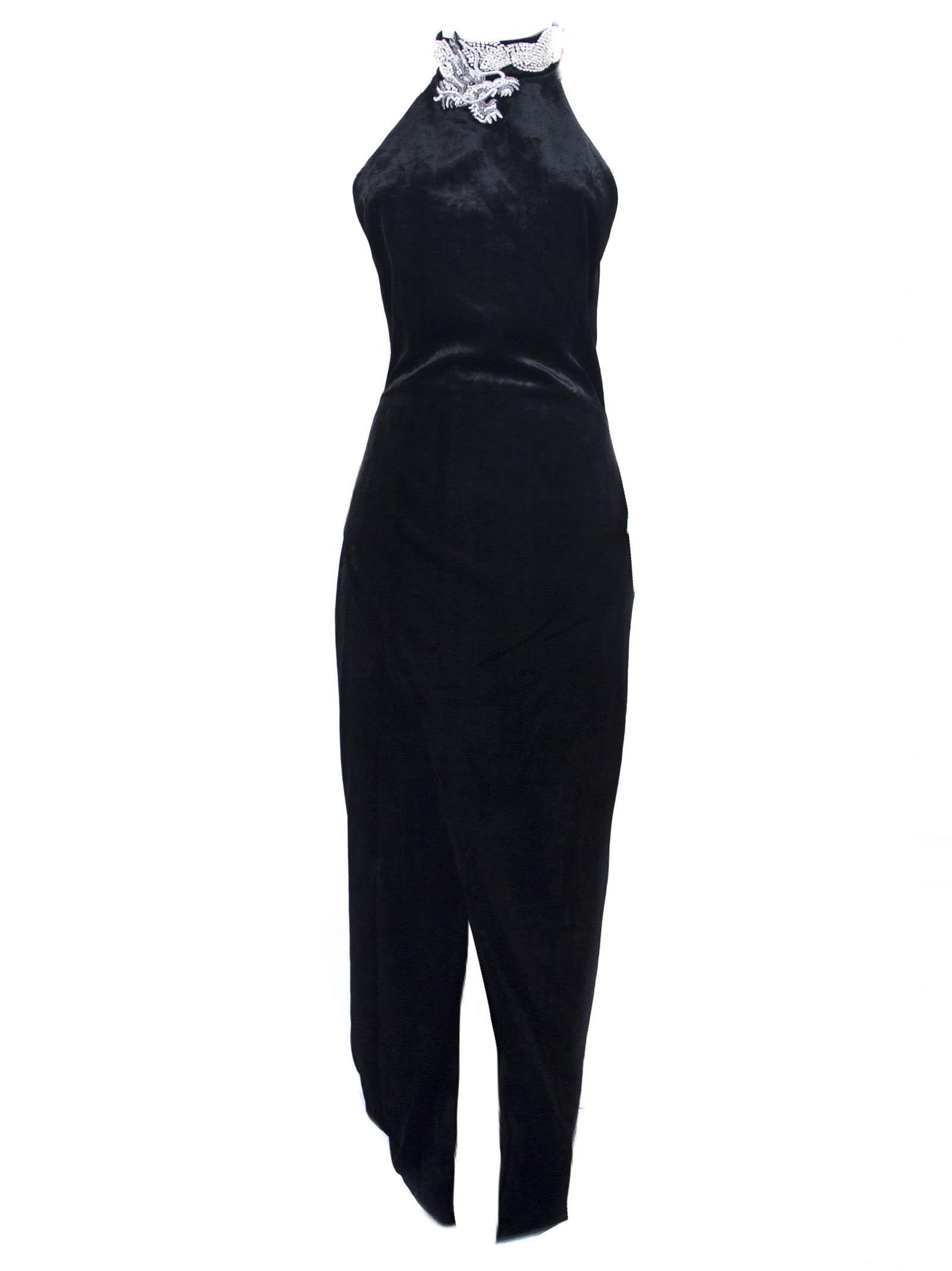 Balmain Long Dress In Black Velvet