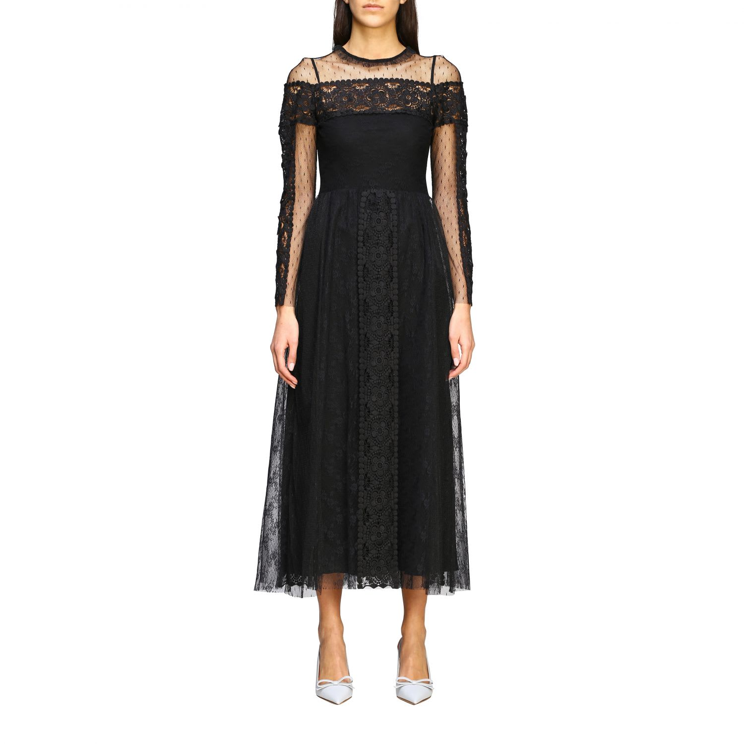 Buy Red Valentino Dress Red Valentino Maxi Dress In Point Desprit Tulle And Macramé online, shop RED Valentino with free shipping