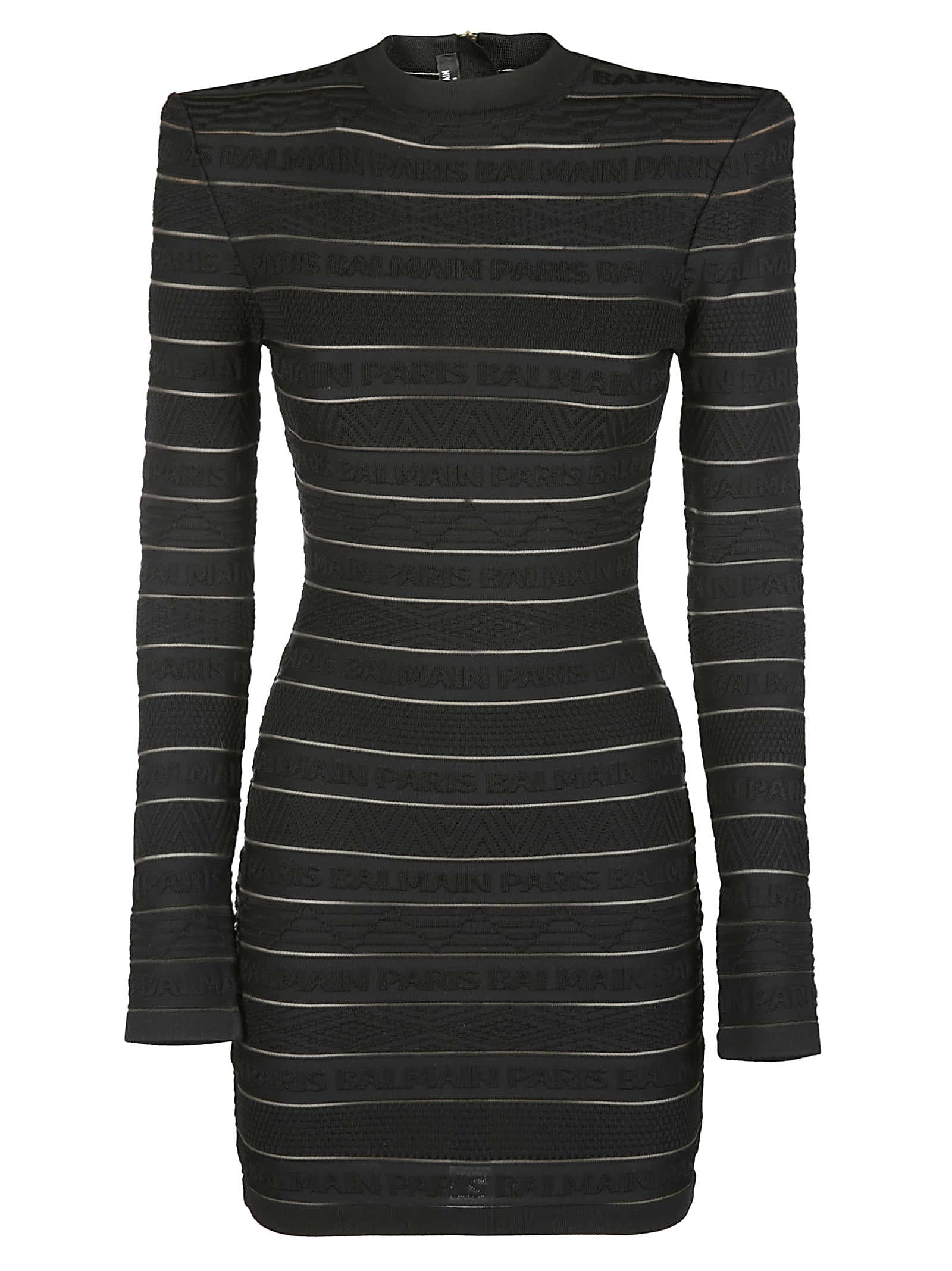 Buy Balmain Black Viscose Blend Mini Dress online, shop Balmain with free shipping