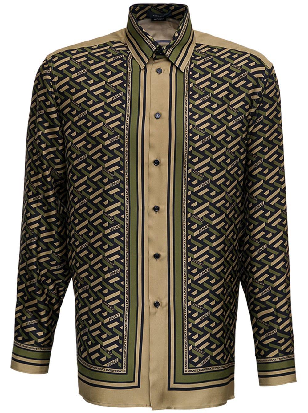 Versace Silk Twill Shirt With Monogram Foulard Print