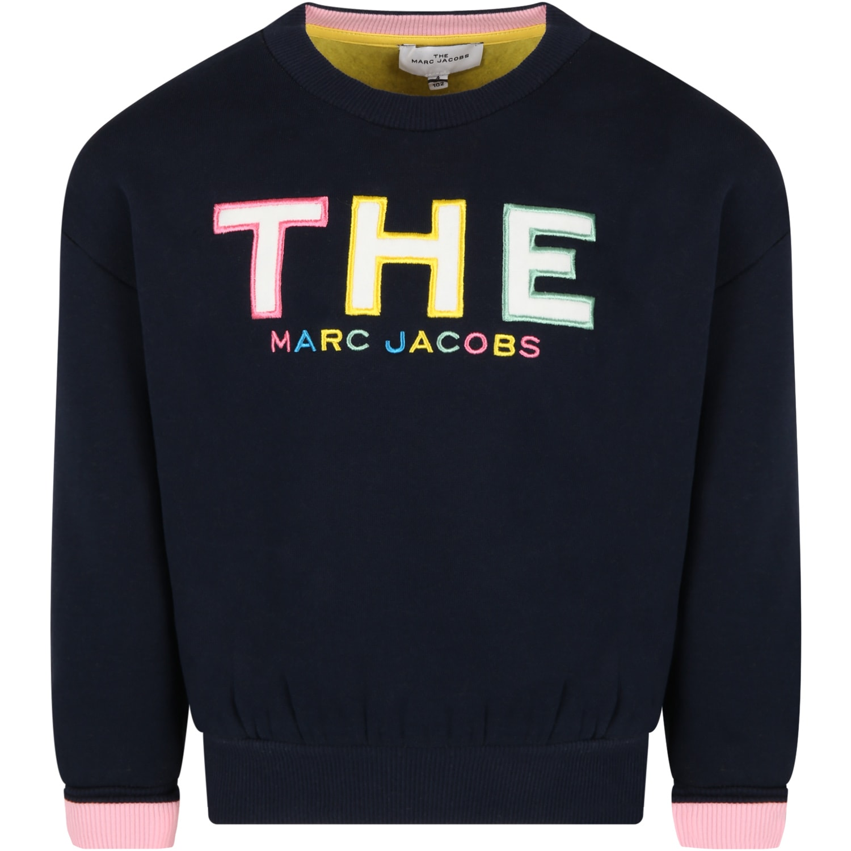 Blue Sweatshirt For Girl With Logo