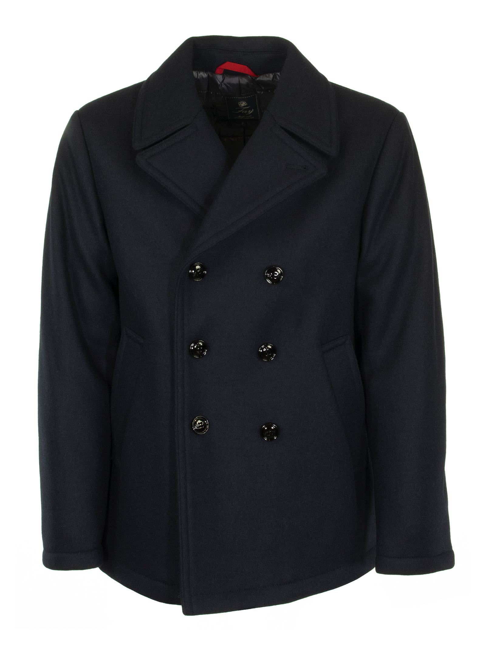 Double-breasted peacoat with six buttons, in a dyed wool yarn and fabric mix. The elegant, urban form with lapels and waist pockets, is a faithful style ally, adorned by a stitched Fay logo on the rear collar. Composition: SHELL: 70%WOOL 25%POLYESTER 5% OTHER FIBRES LINING: 100% POLYAMIDE FILLING: 100% POLYESTER