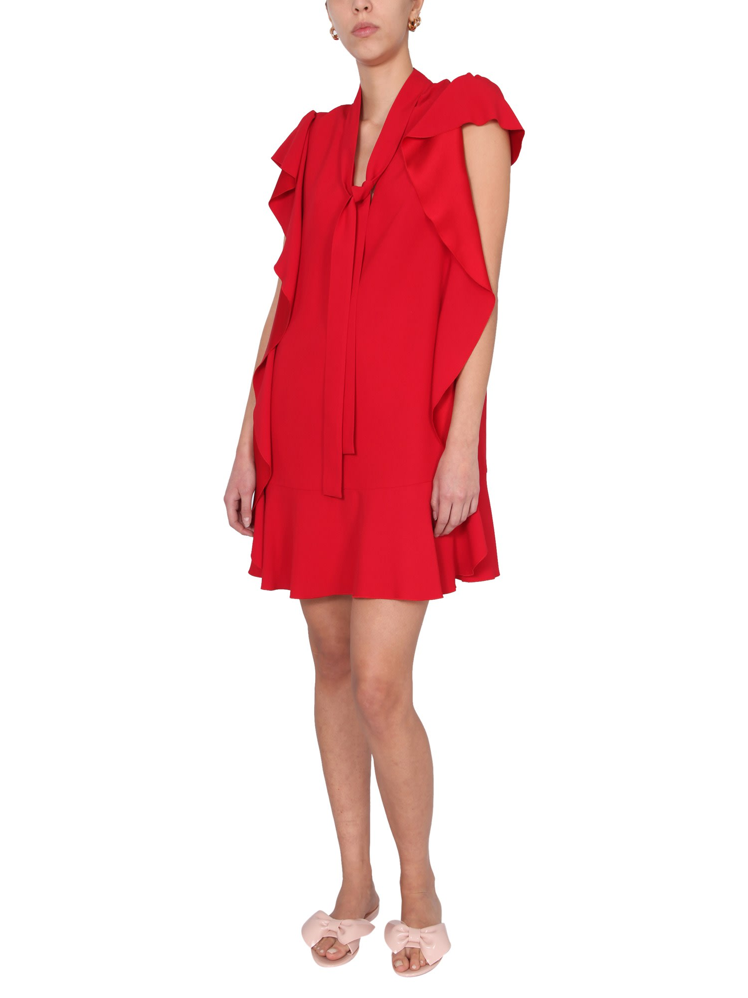 Red Valentino SATIN DRESS WITH FLOUNCES