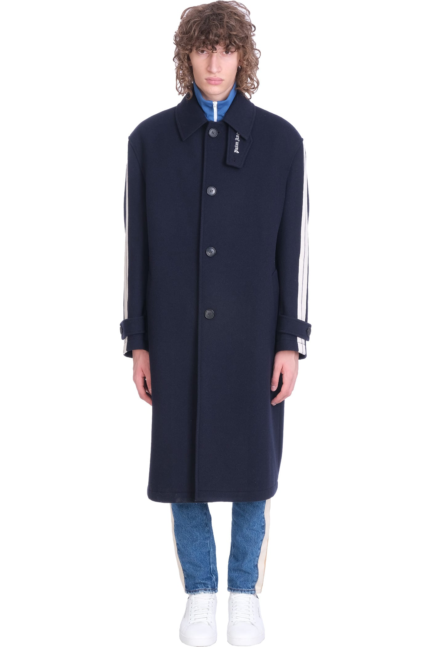 Palm Angels Coat In Blue Wool