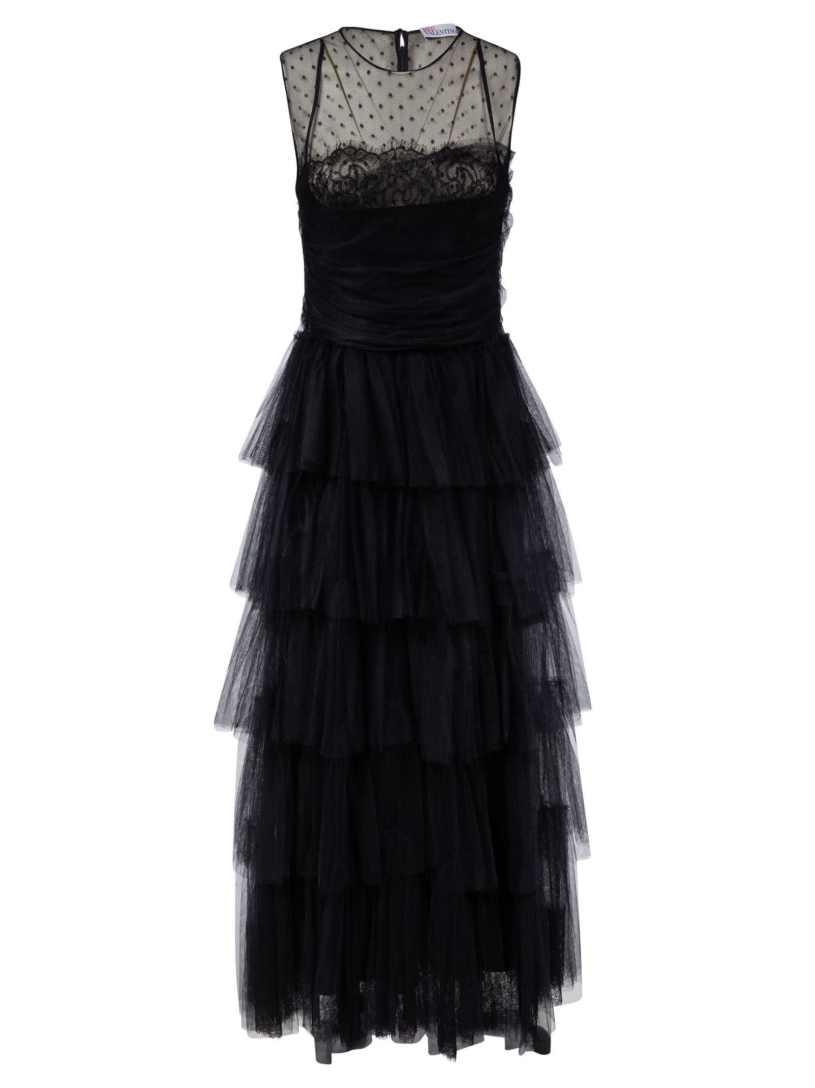 RED Valentino Sleeveless Layered Lace Dress