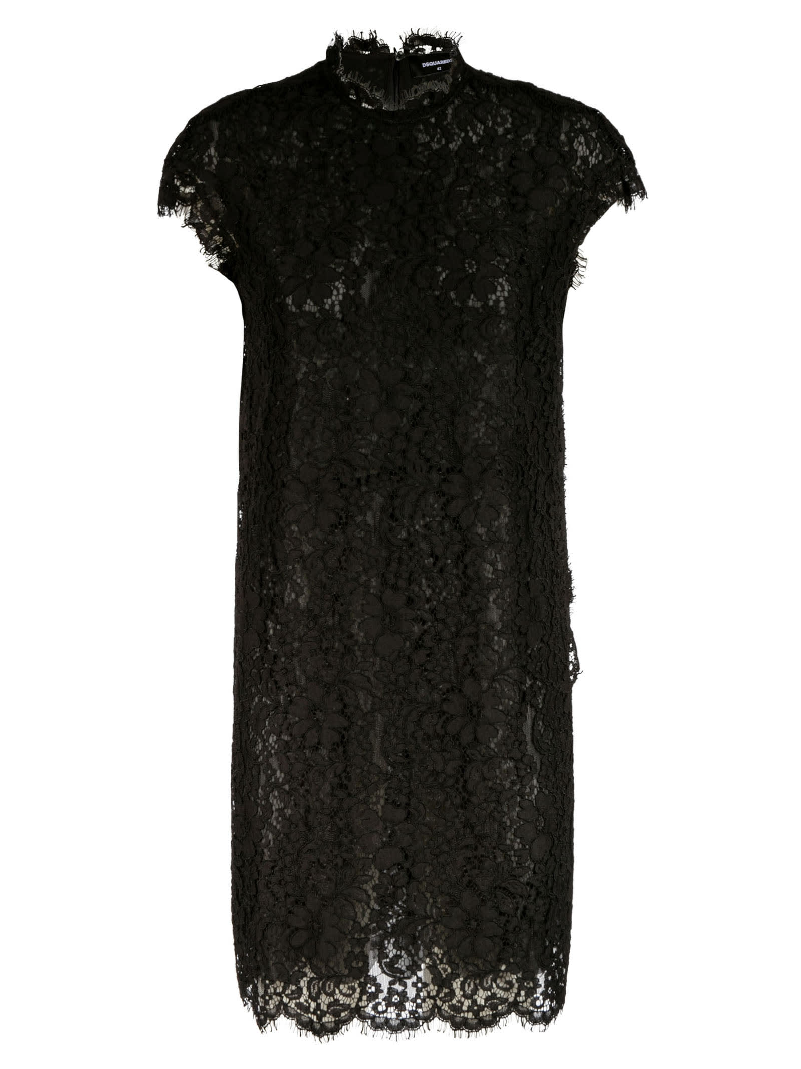 Buy Dsquared2 Sleeveless Lace Floral Dress online, shop Dsquared2 with free shipping