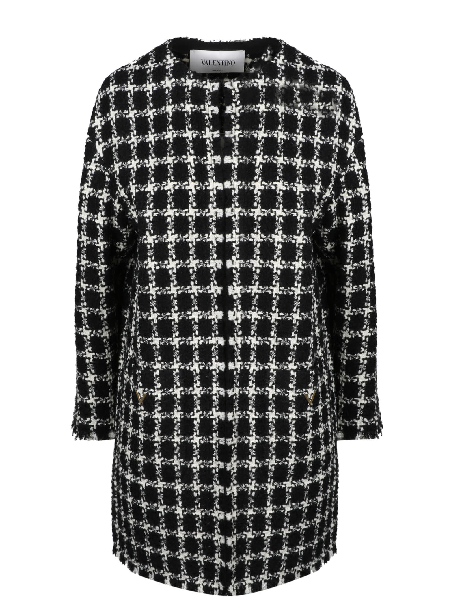 Valentino Checked Tweed Coat