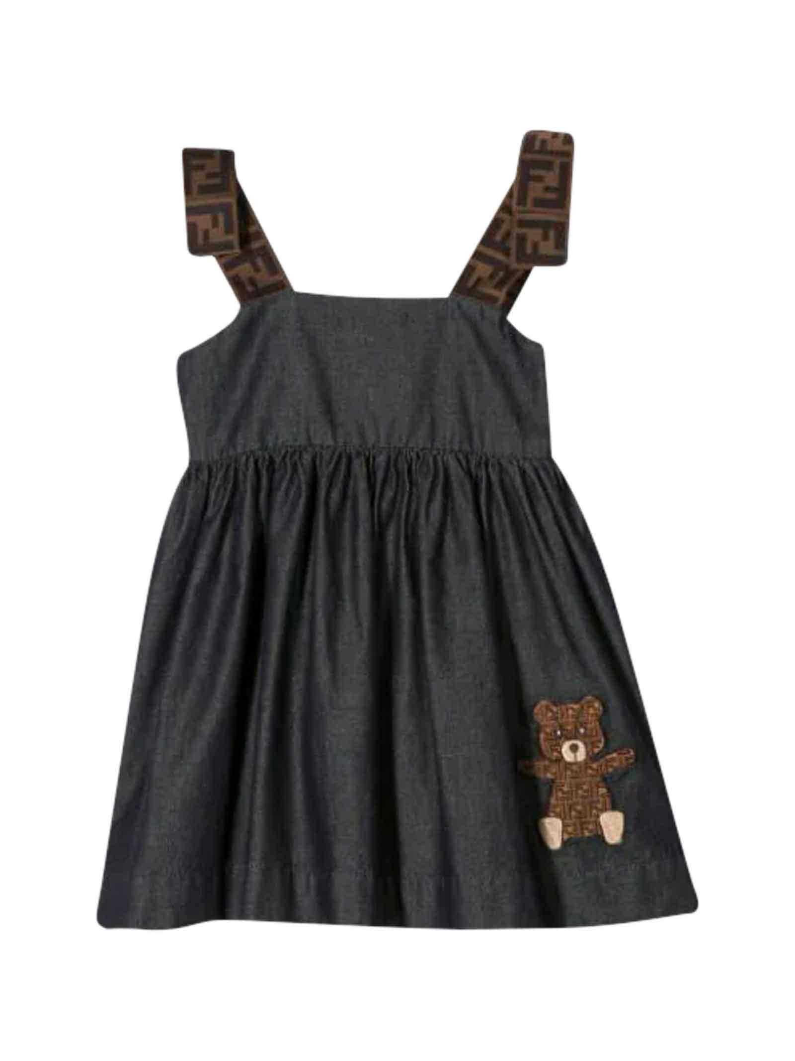 Buy Fendi Blue Denim Dress With teddy Bear online, shop Fendi with free shipping