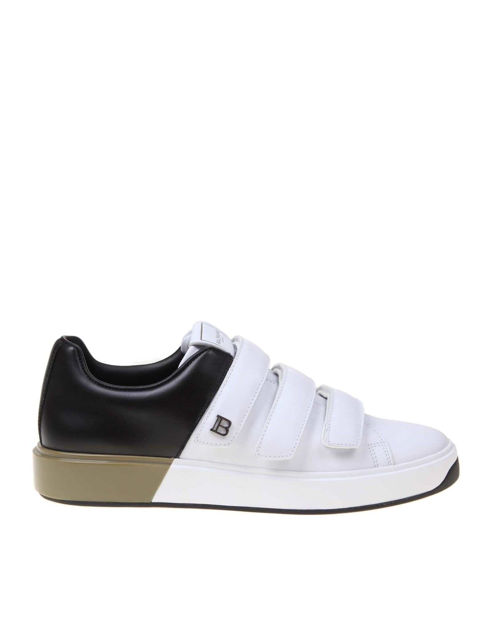Balmain SNEAKER B COURT IN WHITE AND BLACK LEATHER