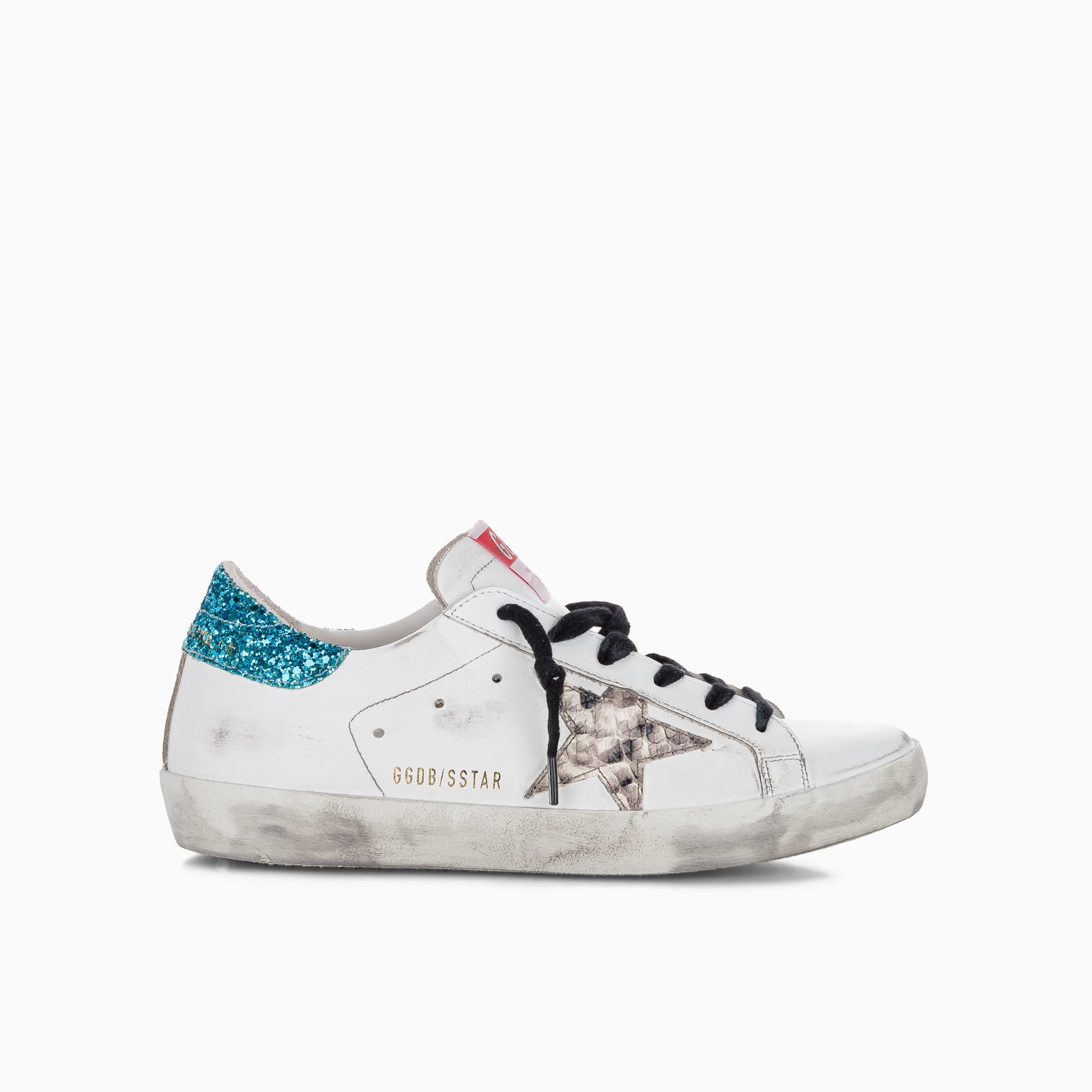 Golden Goose Superstar Sneakers With Glitter Heel Tab And Snakeprint Star