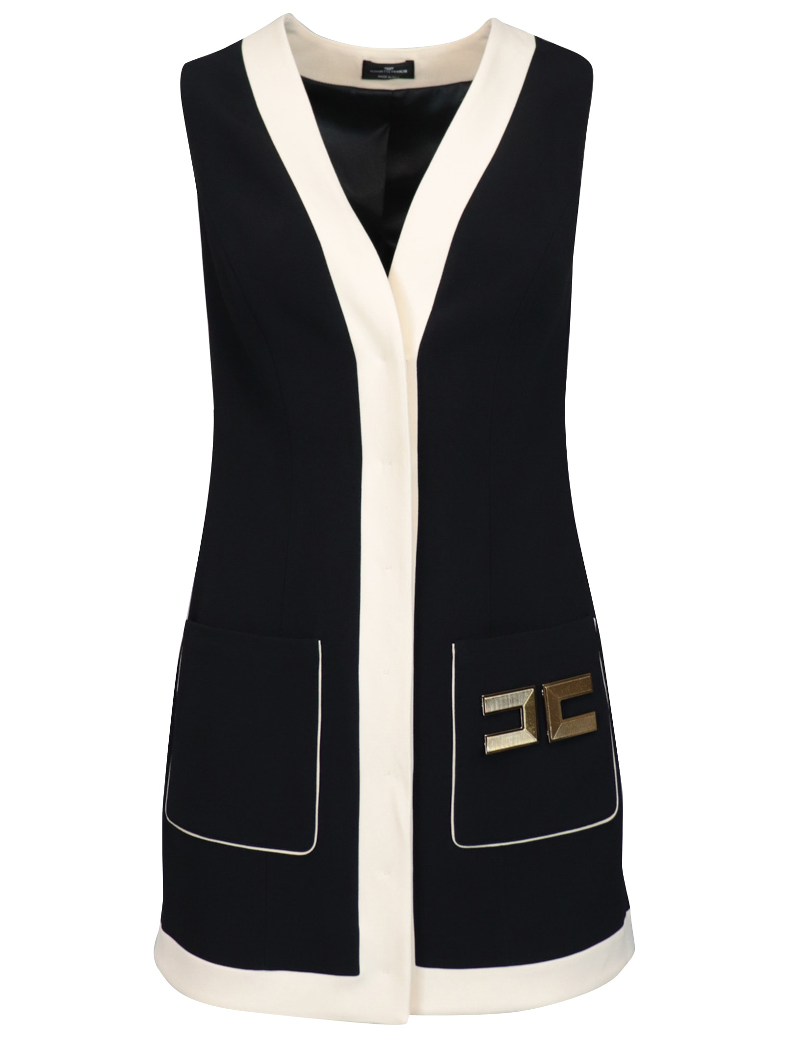 Buy Elisabetta Franchi Celyn B. Mini Crepe With Logo Dress online, shop Elisabetta Franchi Celyn B. with free shipping