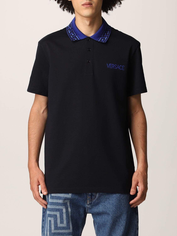 Versace Polo Shirt Versace Cotton Pique Polo Shirt With Embroidered Logo