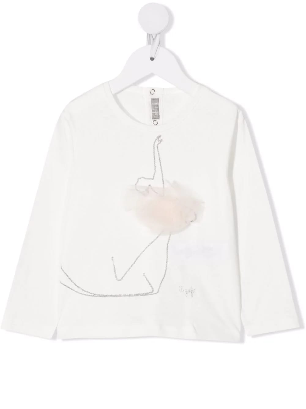 Kids White T-shirt With Skater Embroidery