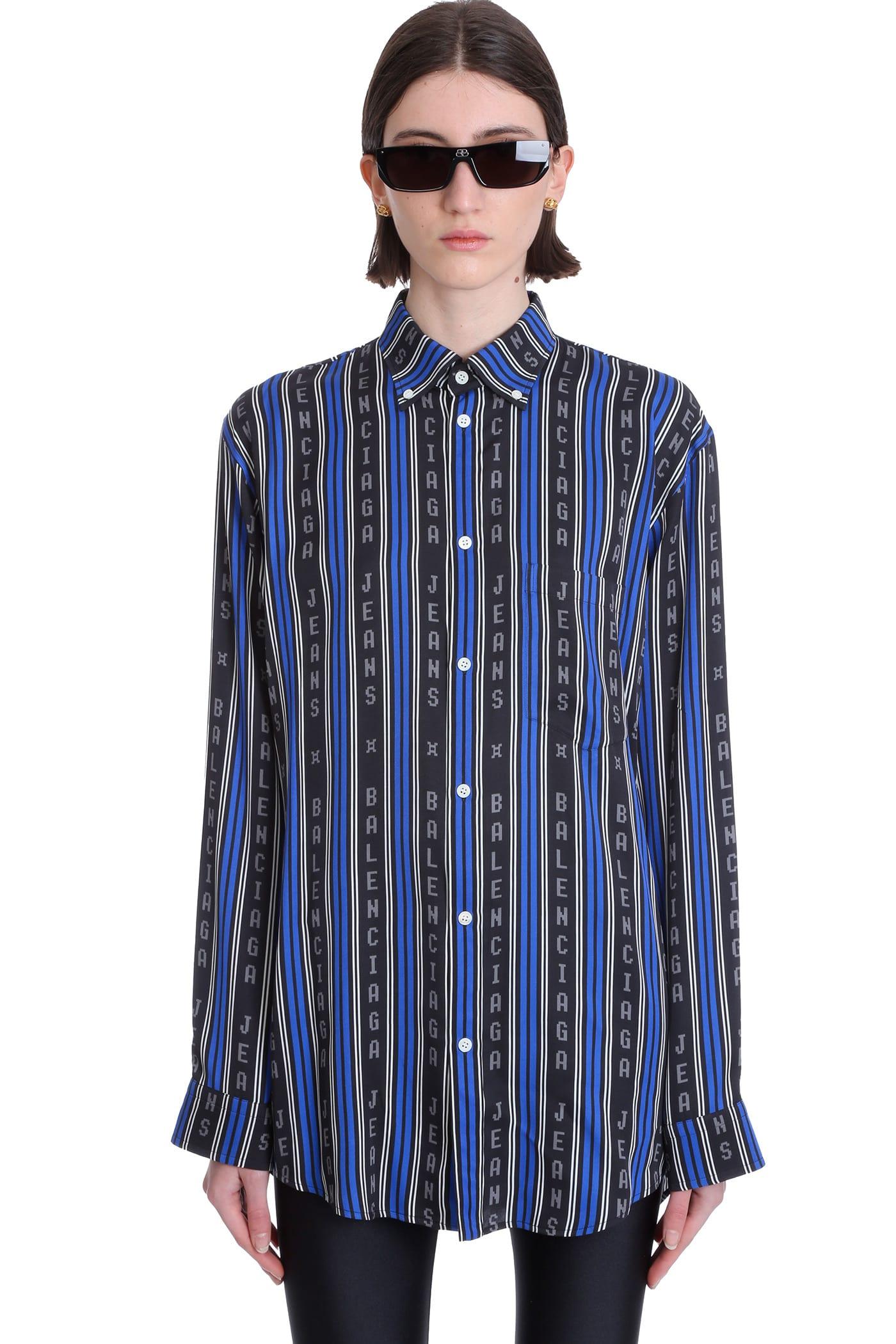Balenciaga Shirts SHIRT IN BLUE VISCOSE