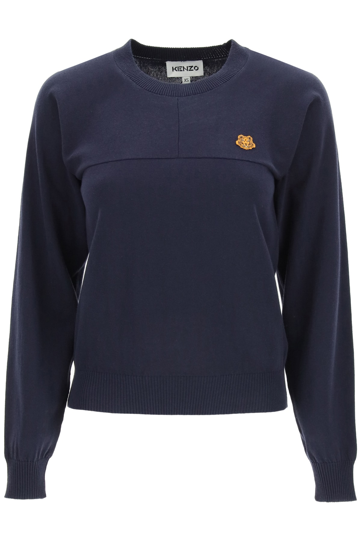 Kenzo Cotton Sweater Tiger Crest Patch In Navy Blue (blue)