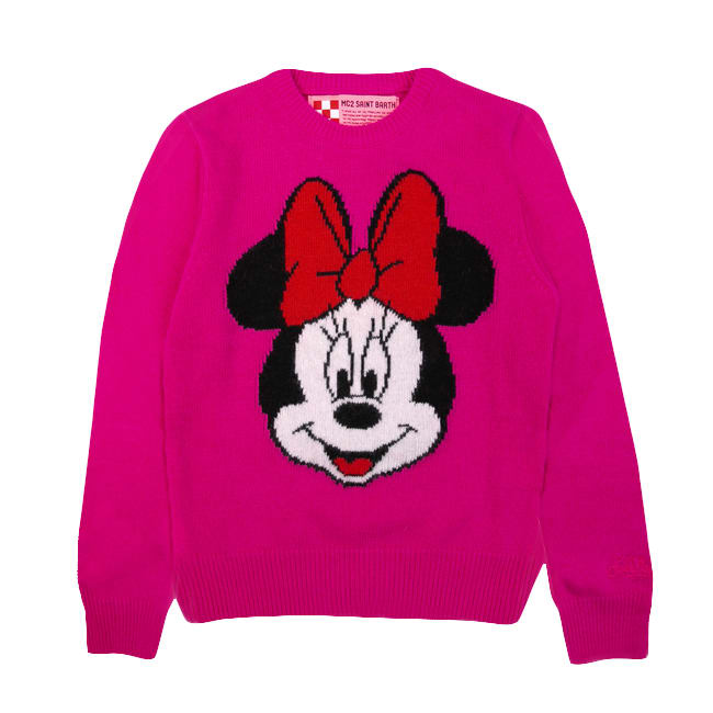 MC2 Saint Barth Minnie Fucsia Sweater For Girl - Disney© Special Edition