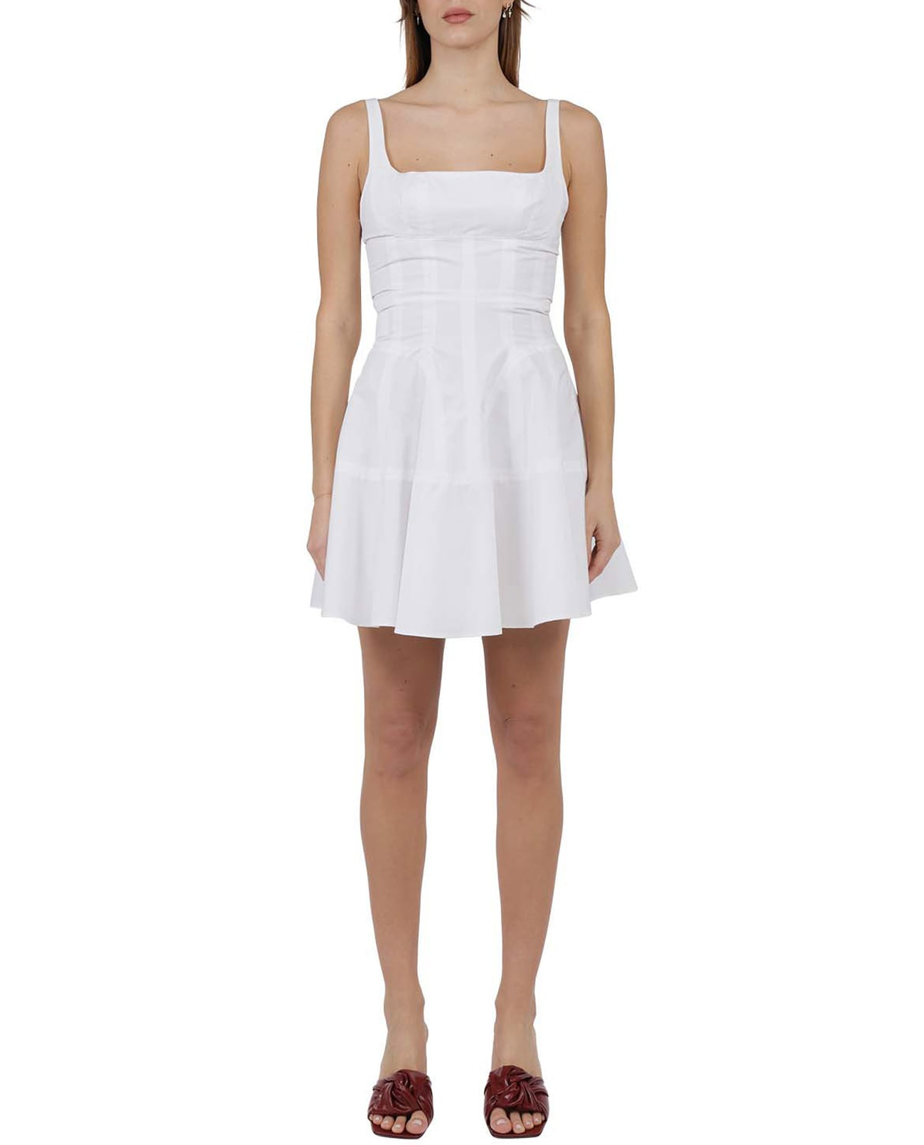 Buy Giovanni Bedin White Godet Dress online, shop Giovanni Bedin with free shipping
