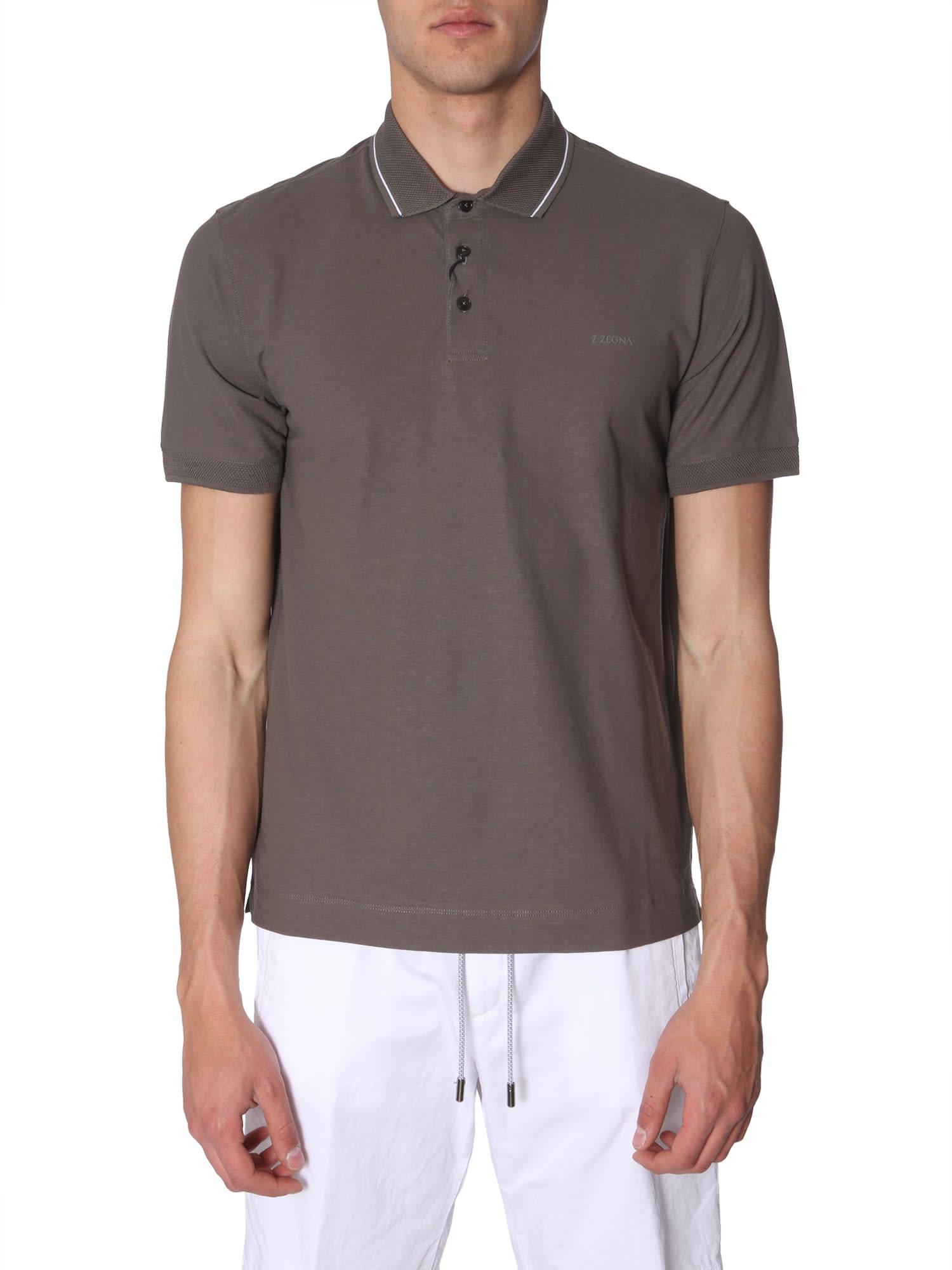 c722bf41a8 Z Zegna Contrast Collar Polo
