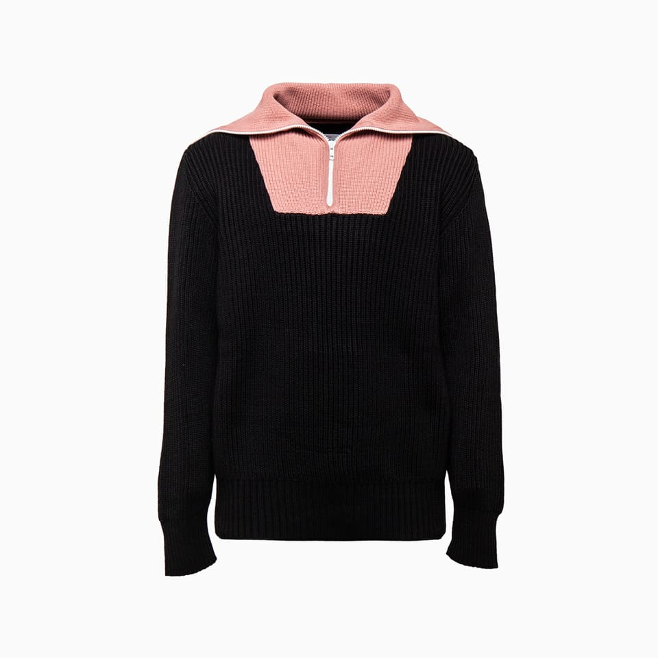 Lc23high Collar Zip Sweater M-202